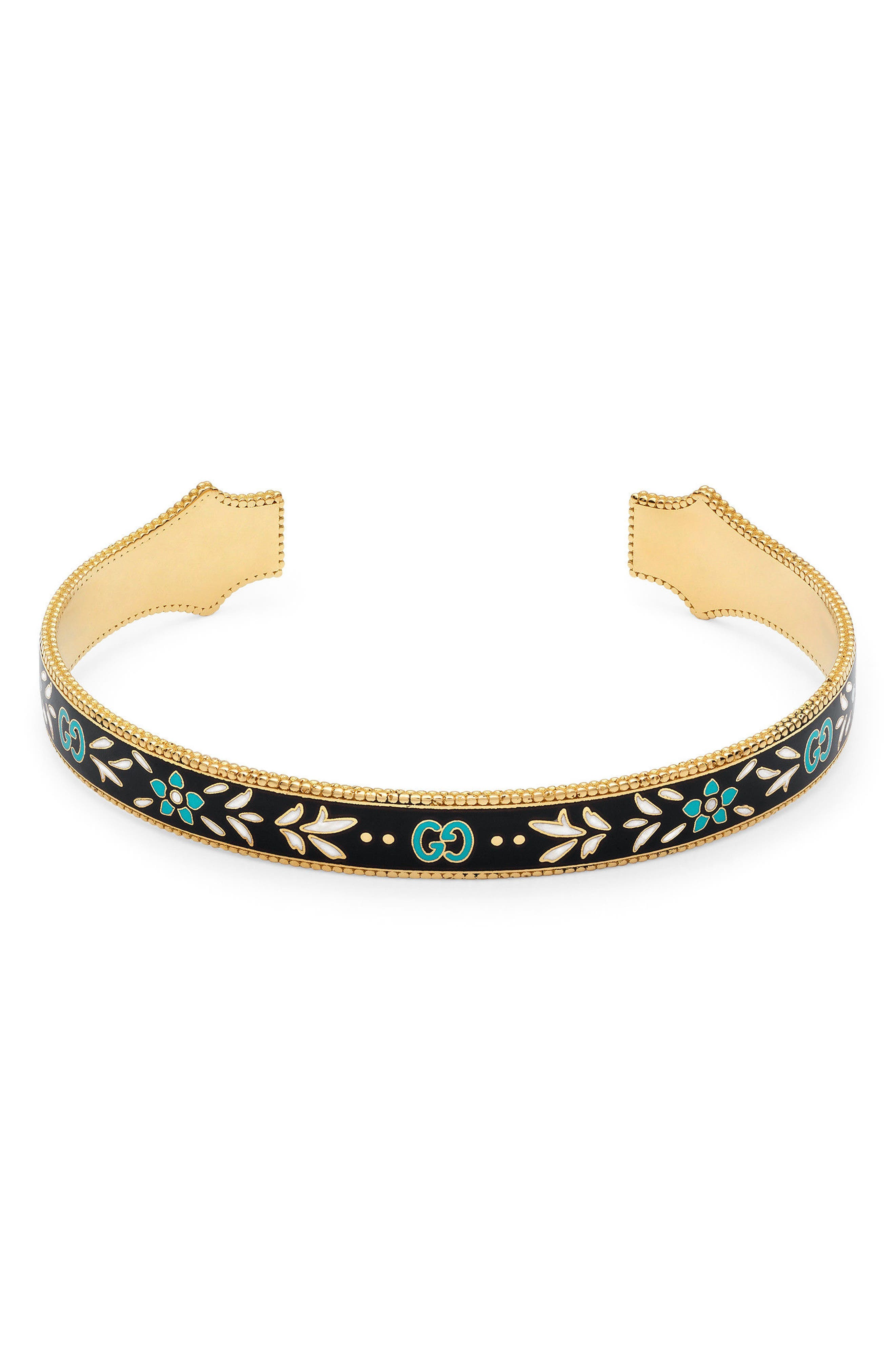 Icon Blooms Enamel Cuff,                         Main,                         color, Yellow Gold