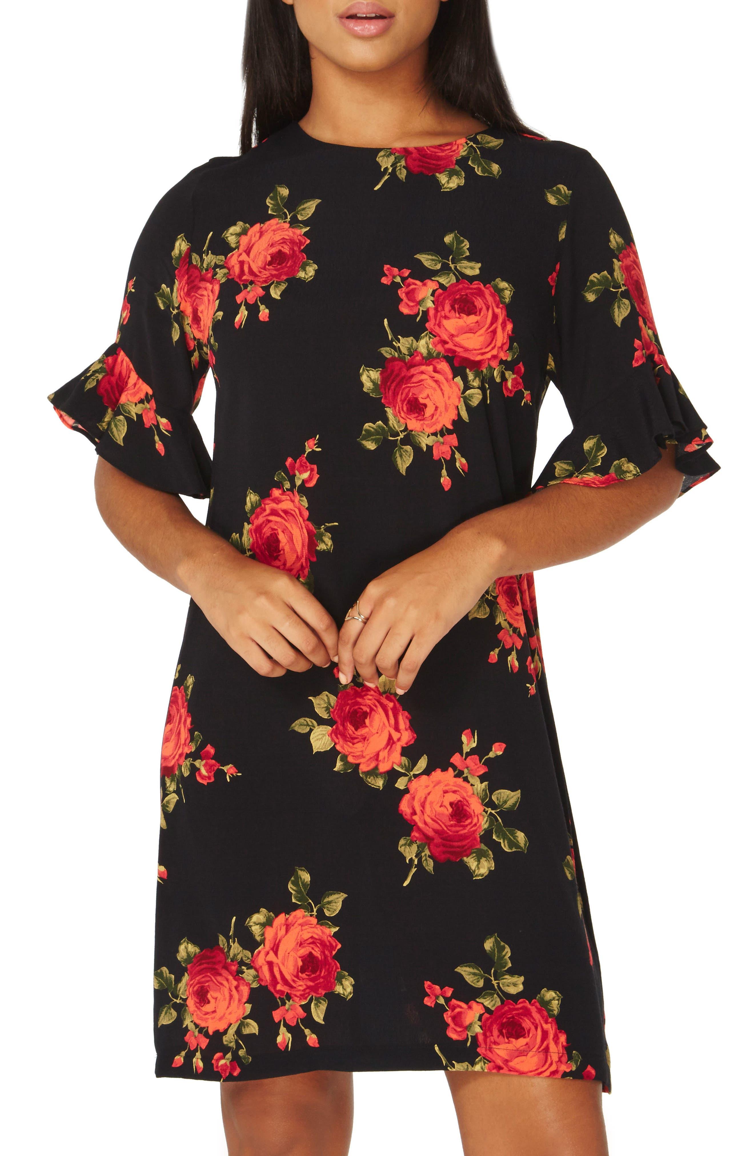 Rose Shift Dress,                             Main thumbnail 1, color,                             Rose