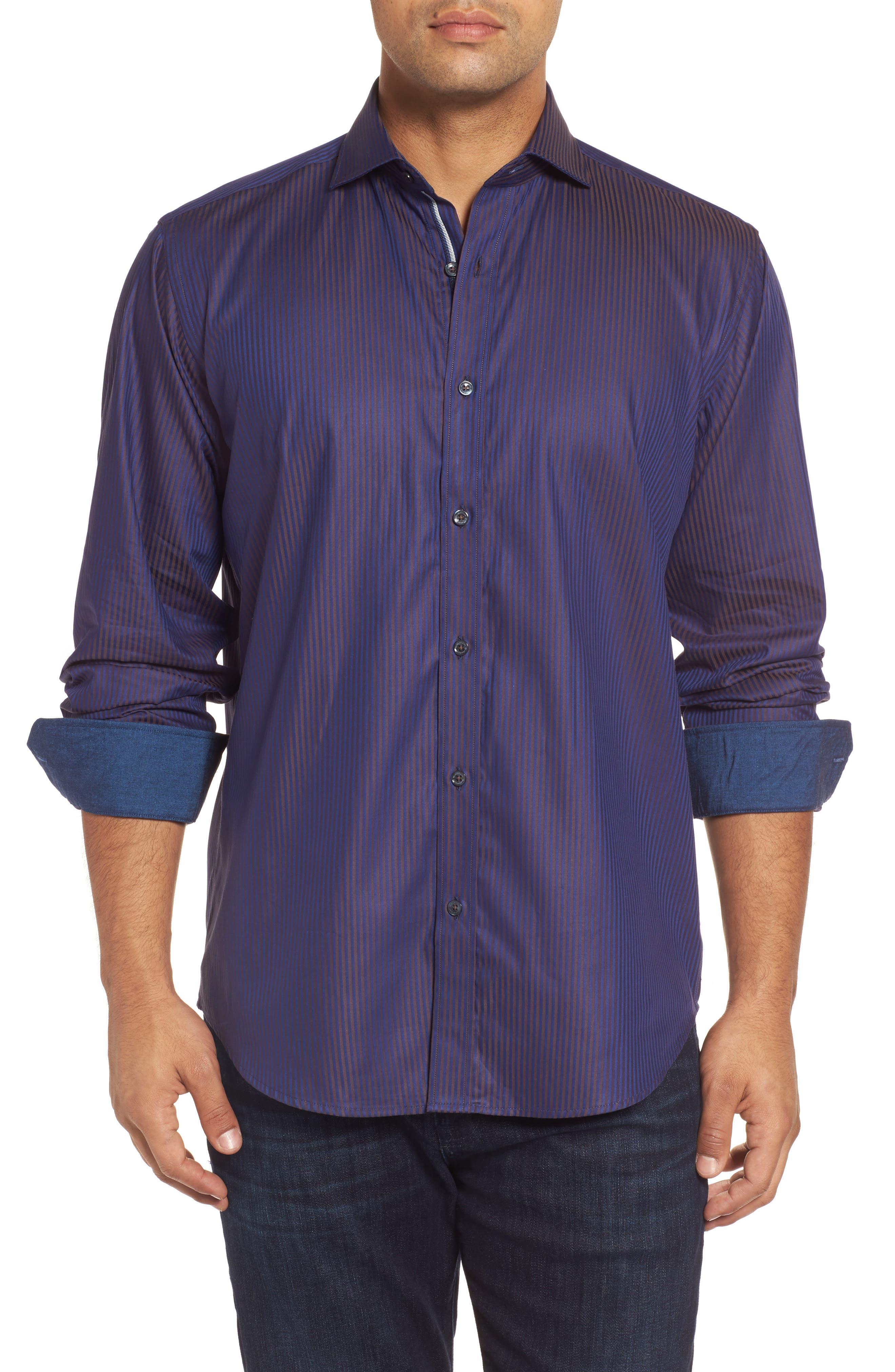 Alternate Image 1 Selected - Bugatchi Classic Fit Herringbone Pinstripe Sport Shirt