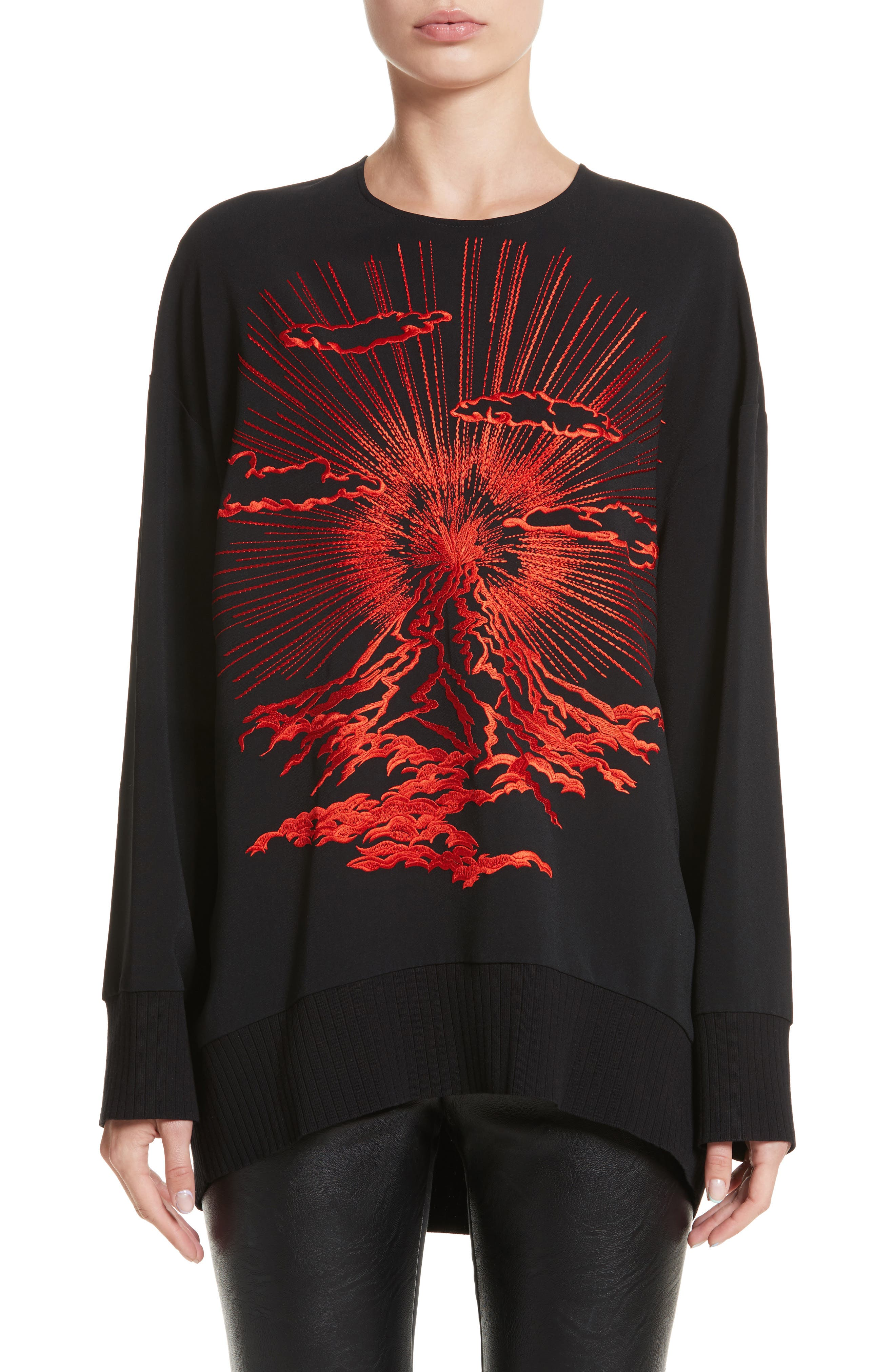 Stella McCartney Embroidered Volcano Stretch Cady Top