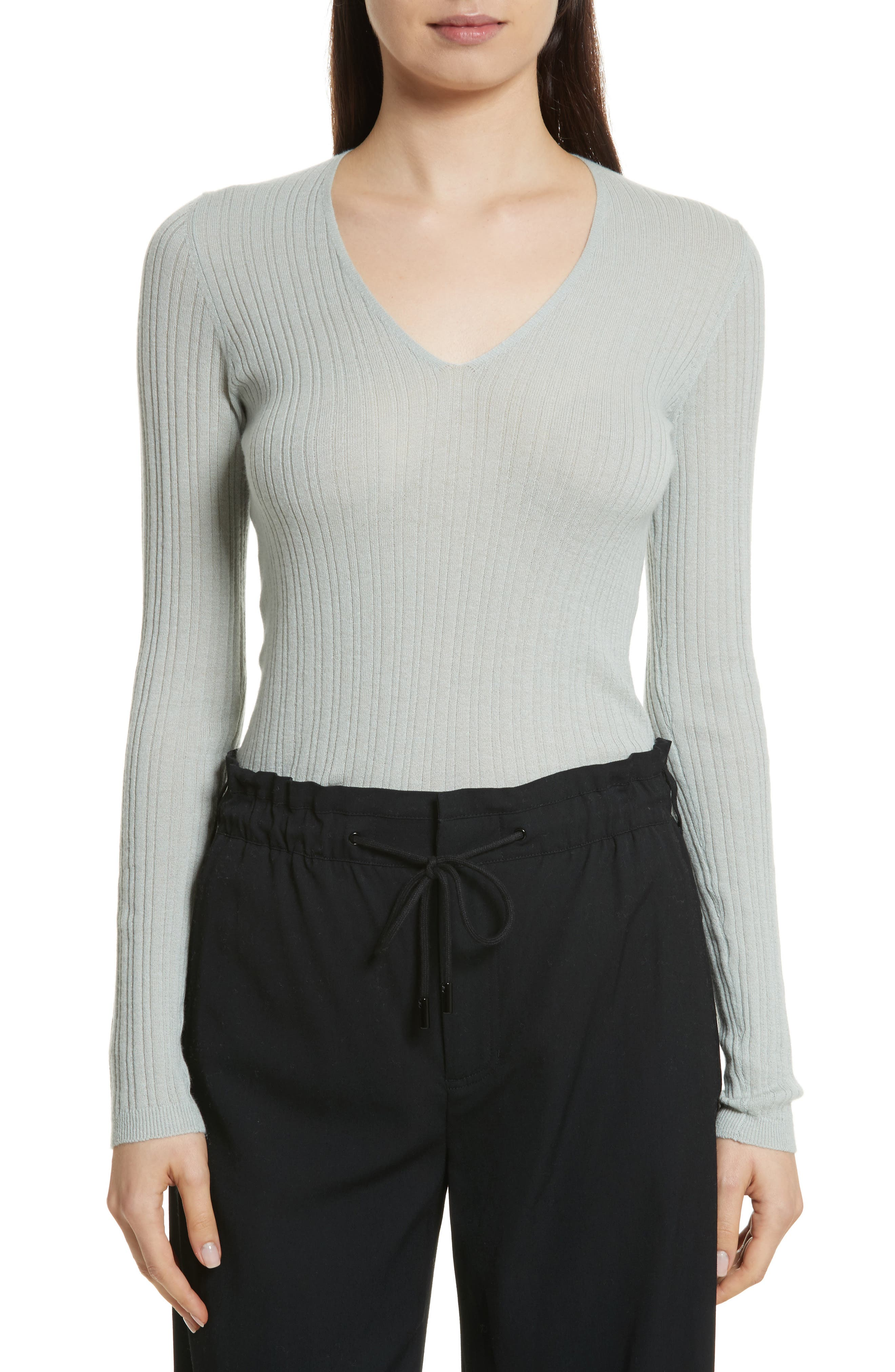 Ribbed Cashmere V-Neck Sweater,                         Main,                         color, Moonstone