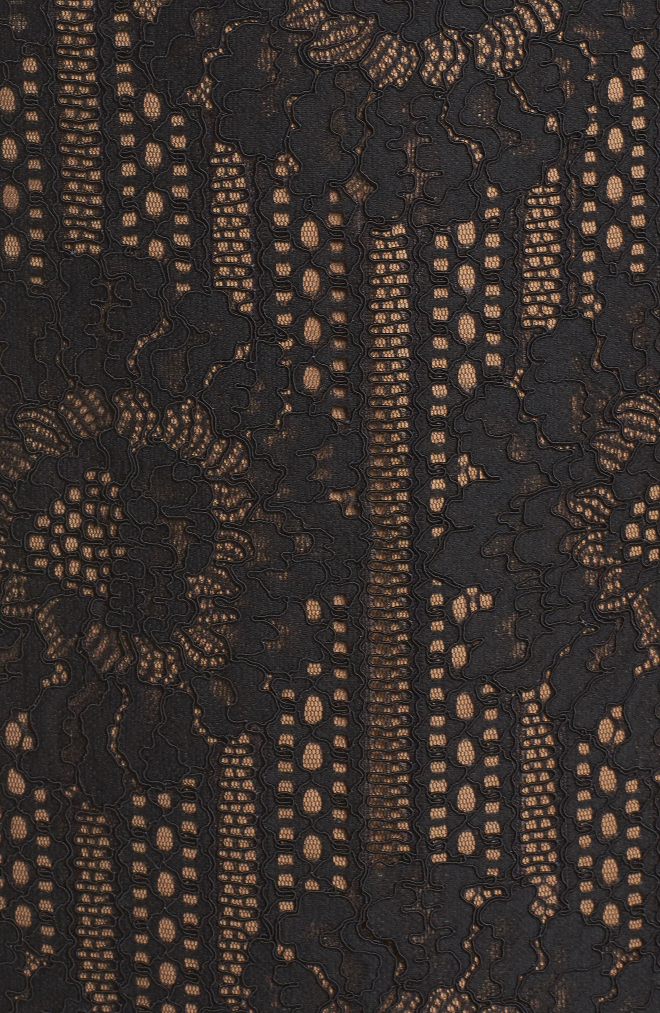 Velvet Trim Lace Sheath Dress,                             Alternate thumbnail 5, color,                             Black/ Nude