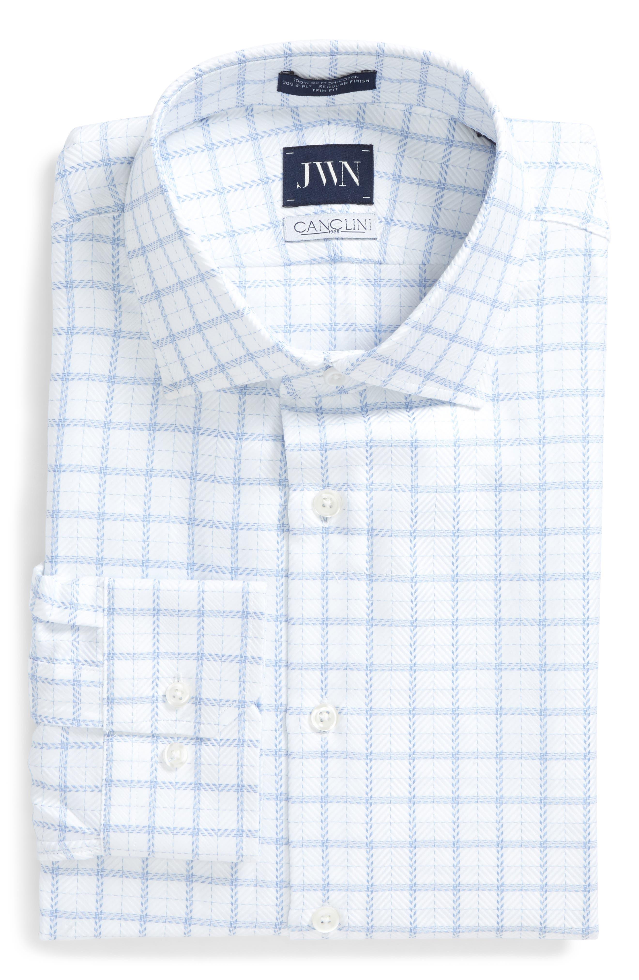 Trim Fit Windowpane Dress Shirt,                         Main,                         color, Blue Hydrangea