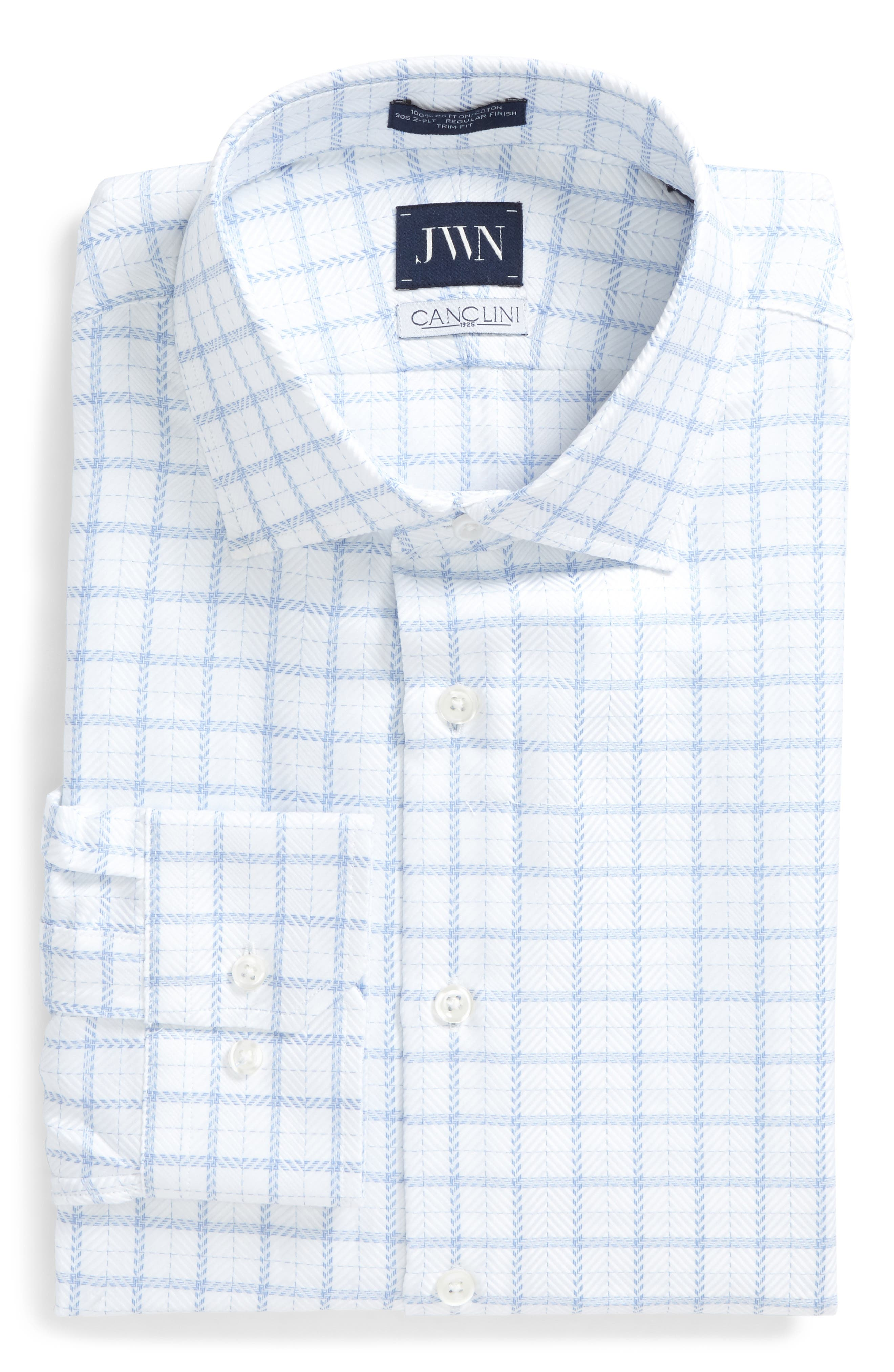 John W. Nordstrom® Trim Fit Windowpane Dress Shirt