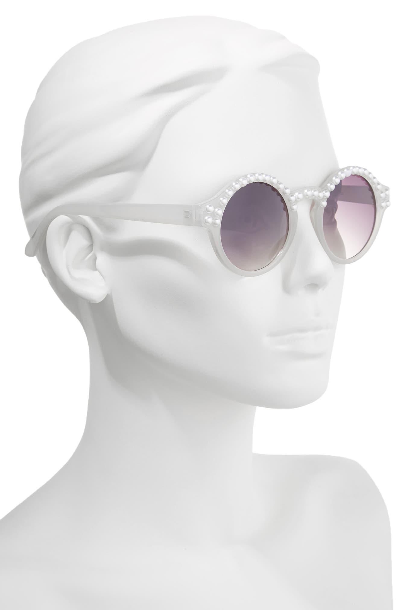 Alternate Image 2  - BP. 45mm Imitation Pearl Round Sunglasses