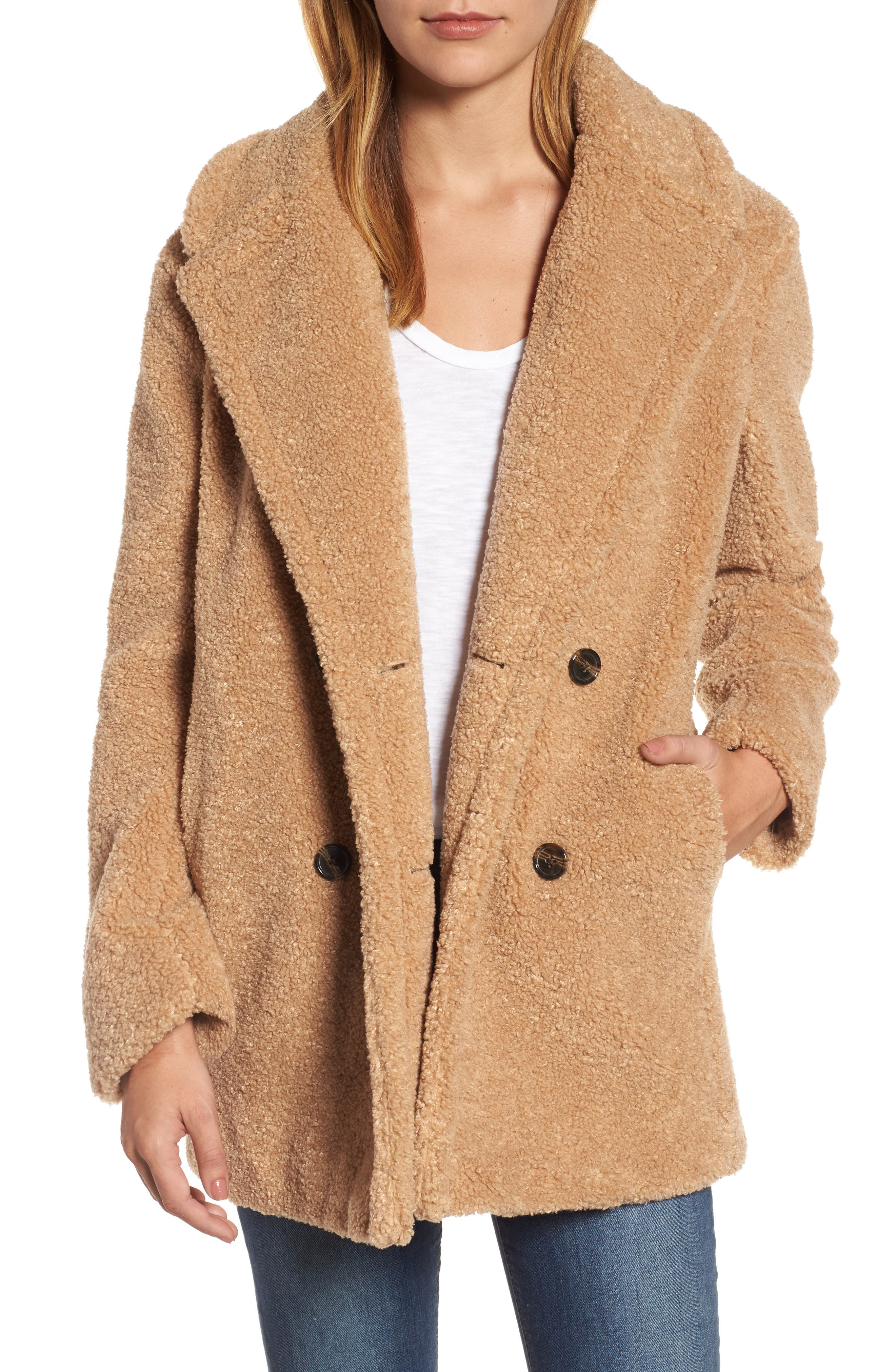 Teddy Bear Notch Collar Faux Fur Coat,                         Main,                         color, Butterscotch
