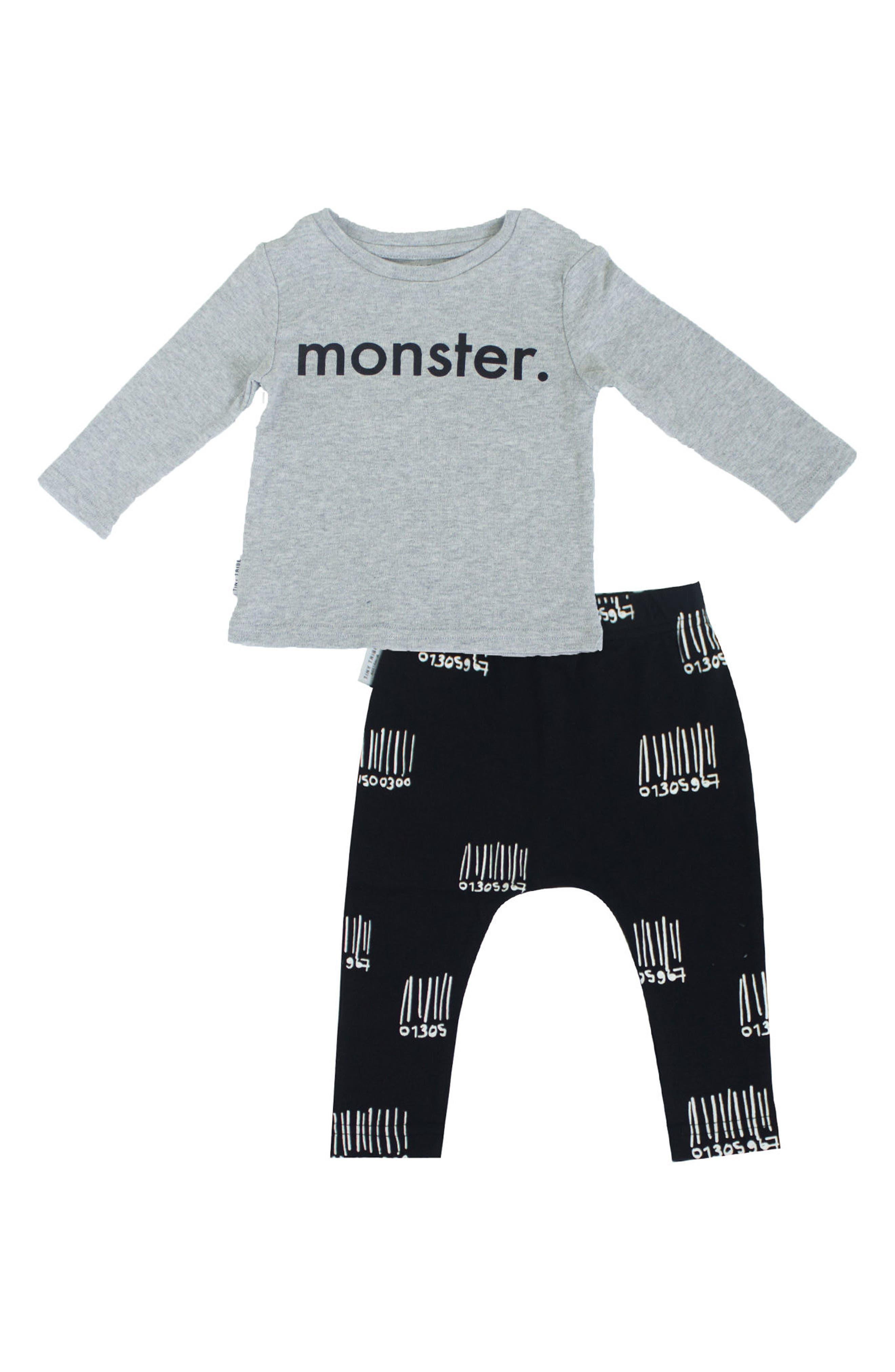 Monster T-Shirt & Leggings Set,                         Main,                         color, Grey/ Black