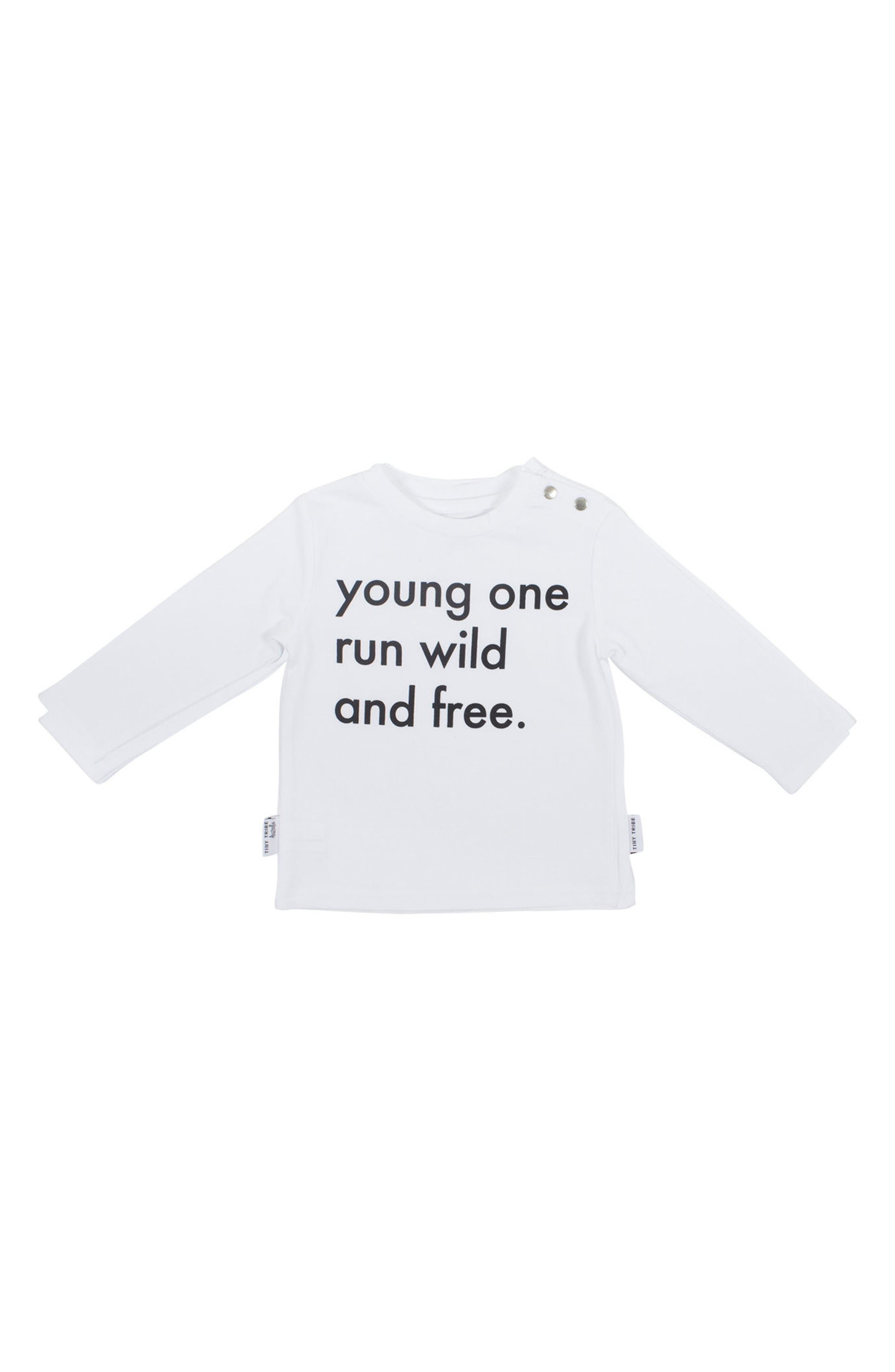 Run Wild & Free T-Shirt & Jogger Pants Set,                             Alternate thumbnail 2, color,                             White/ Black