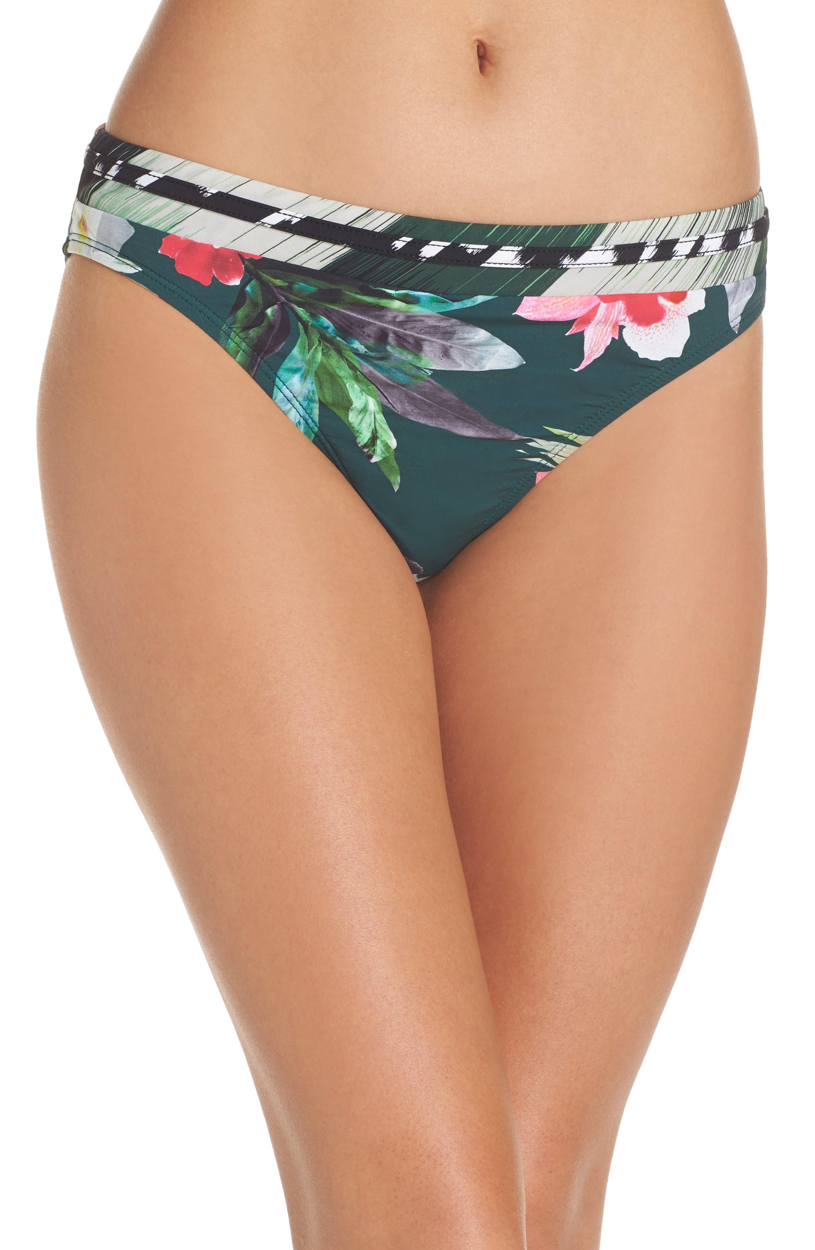 Jungle Floral Shirred Hipster Bikini Bottoms,                             Main thumbnail 1, color,                             Hunter