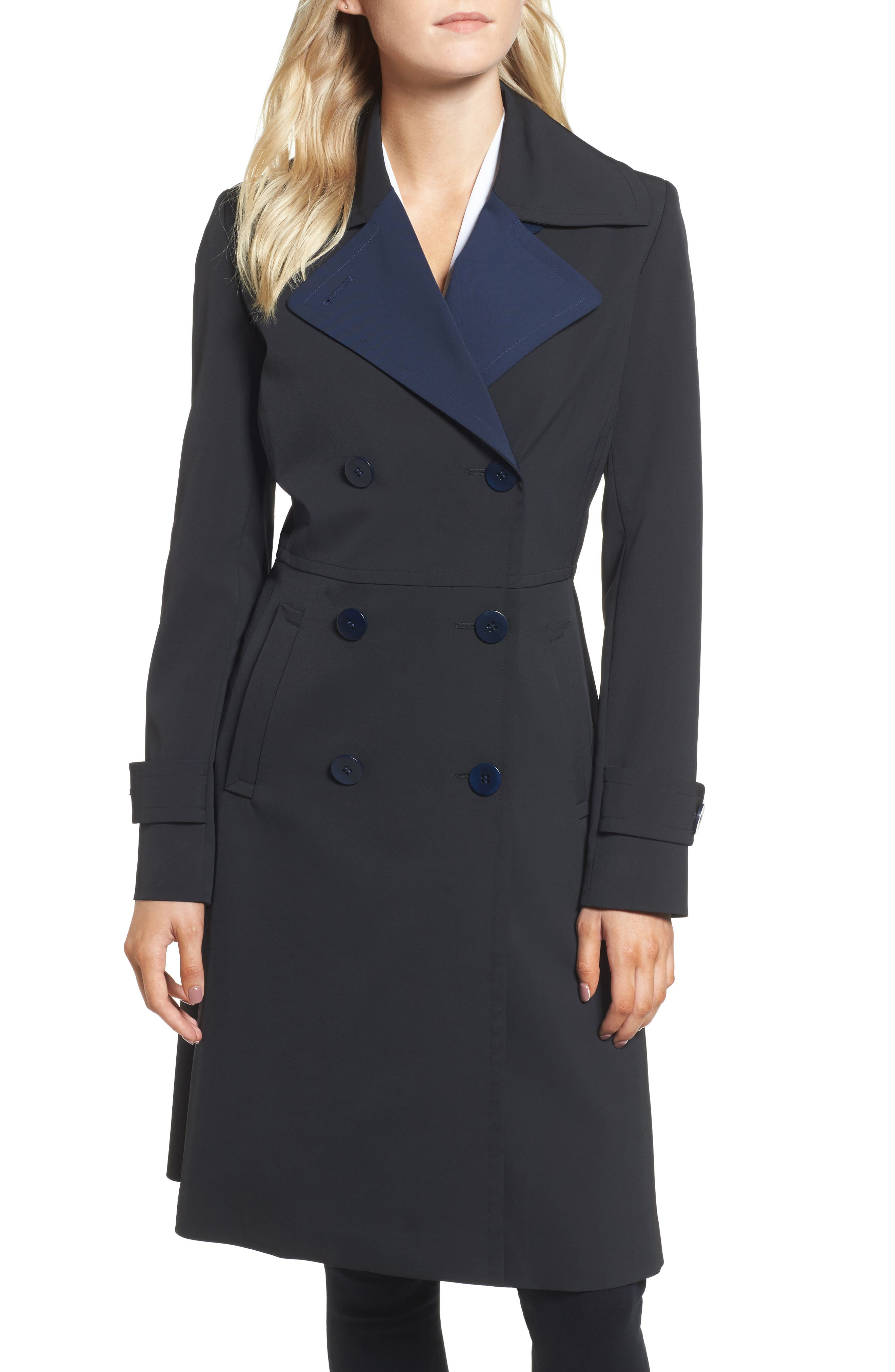 Isabella Two-Tone Double Breasted Trench Raincoat,                         Main,                         color, Black/ Navy