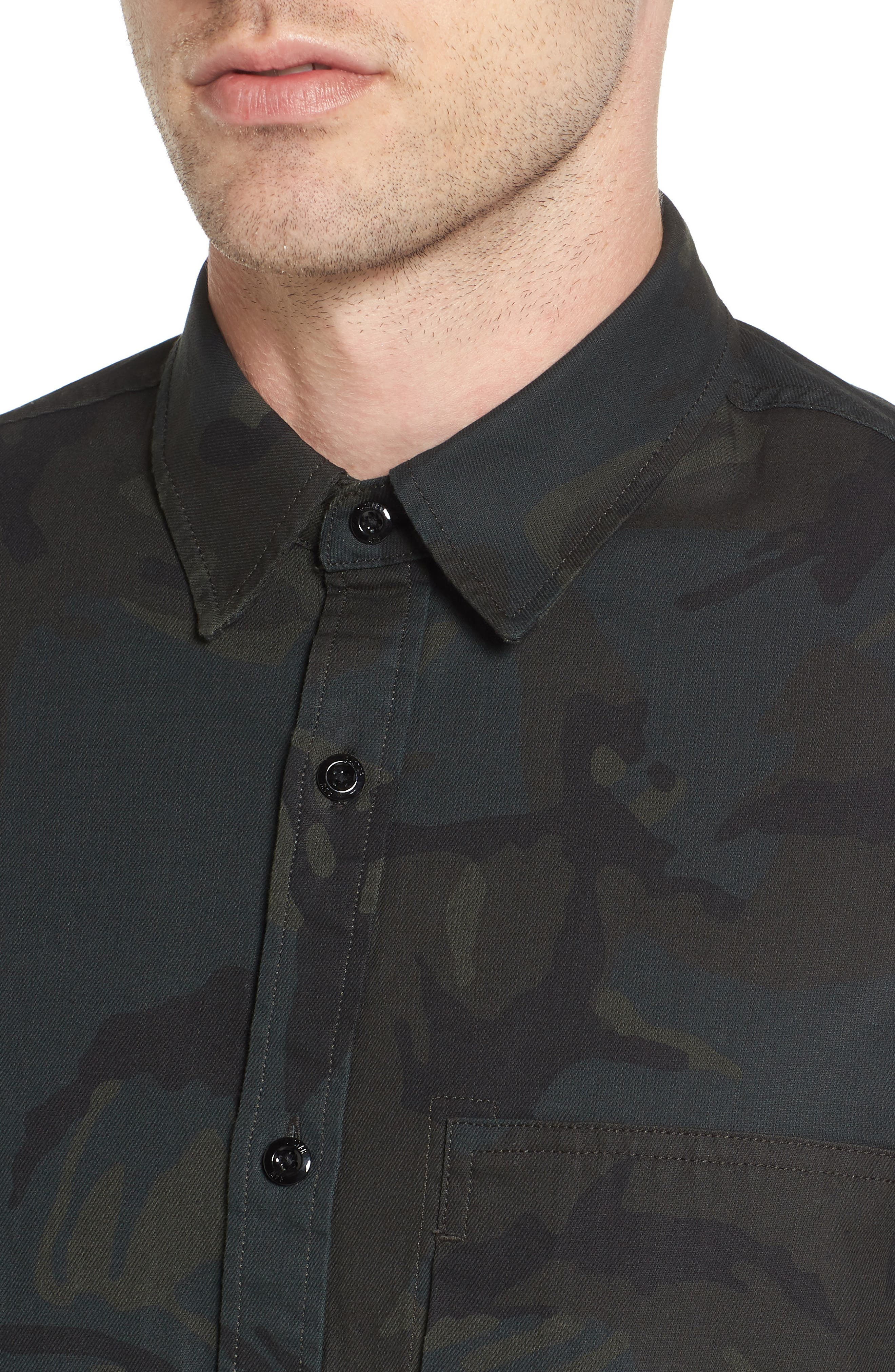 Stalt Long Sleeve Denim Shirt,                             Alternate thumbnail 4, color,                             Asphalt/ Black