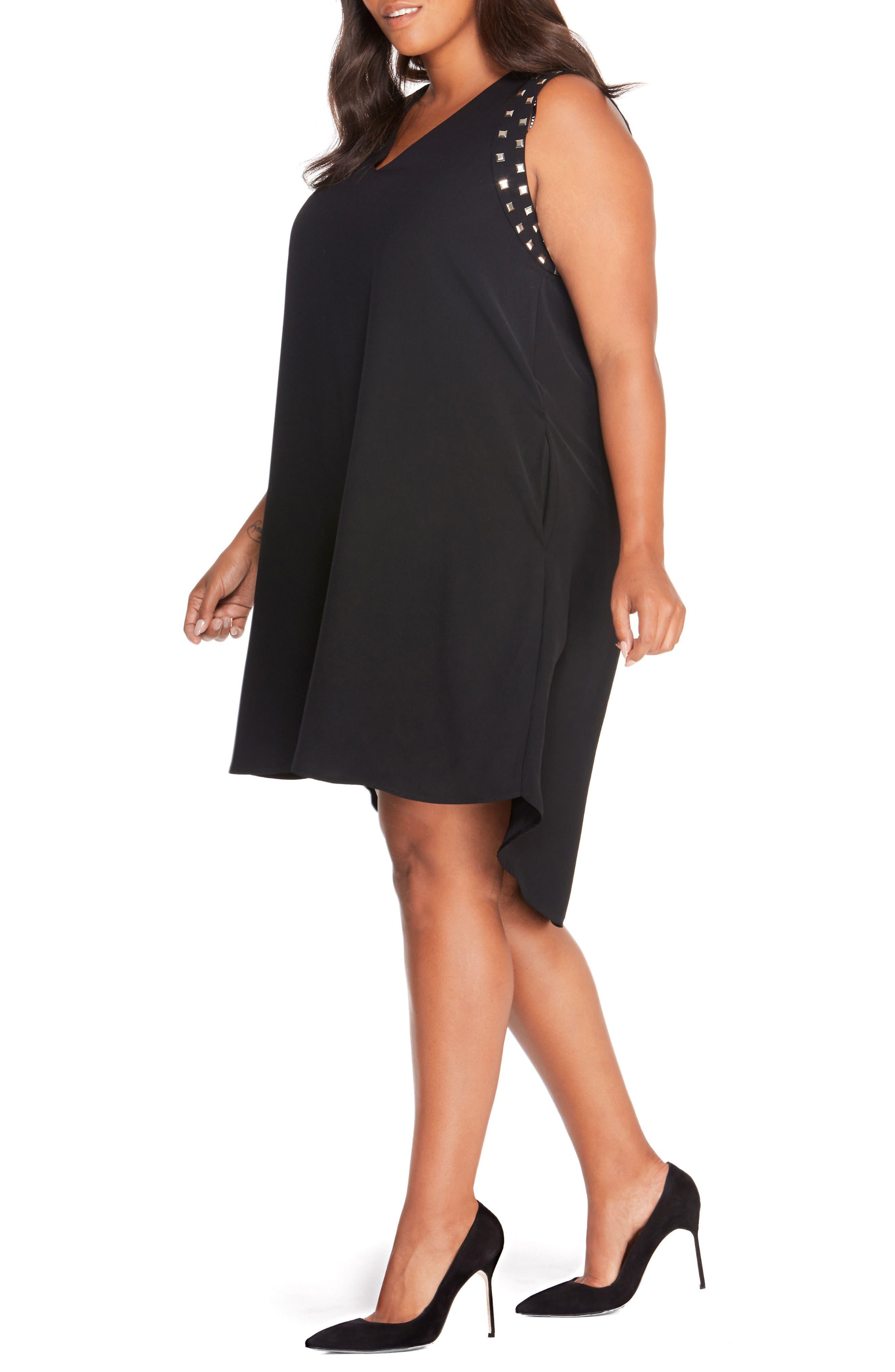 Studded Shift Dress,                             Alternate thumbnail 3, color,                             Black Beauty