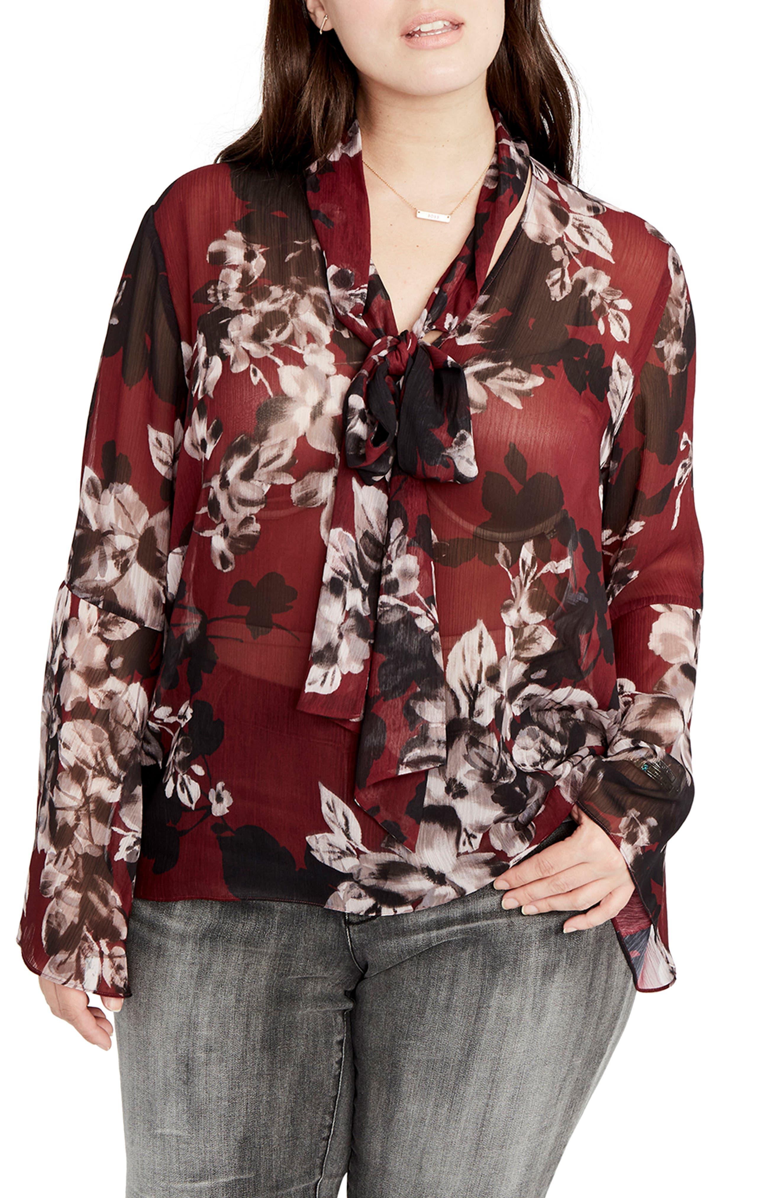 Floral Tie Neck Blouse,                         Main,                         color, Port Combo