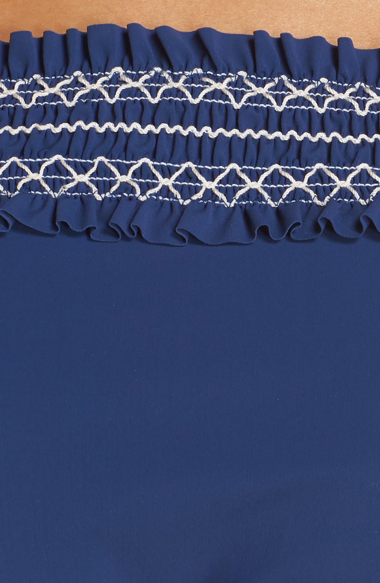 Costa Smocked Hipster Bikini Bottoms,                             Alternate thumbnail 5, color,                             Capri Blue/ New Ivory