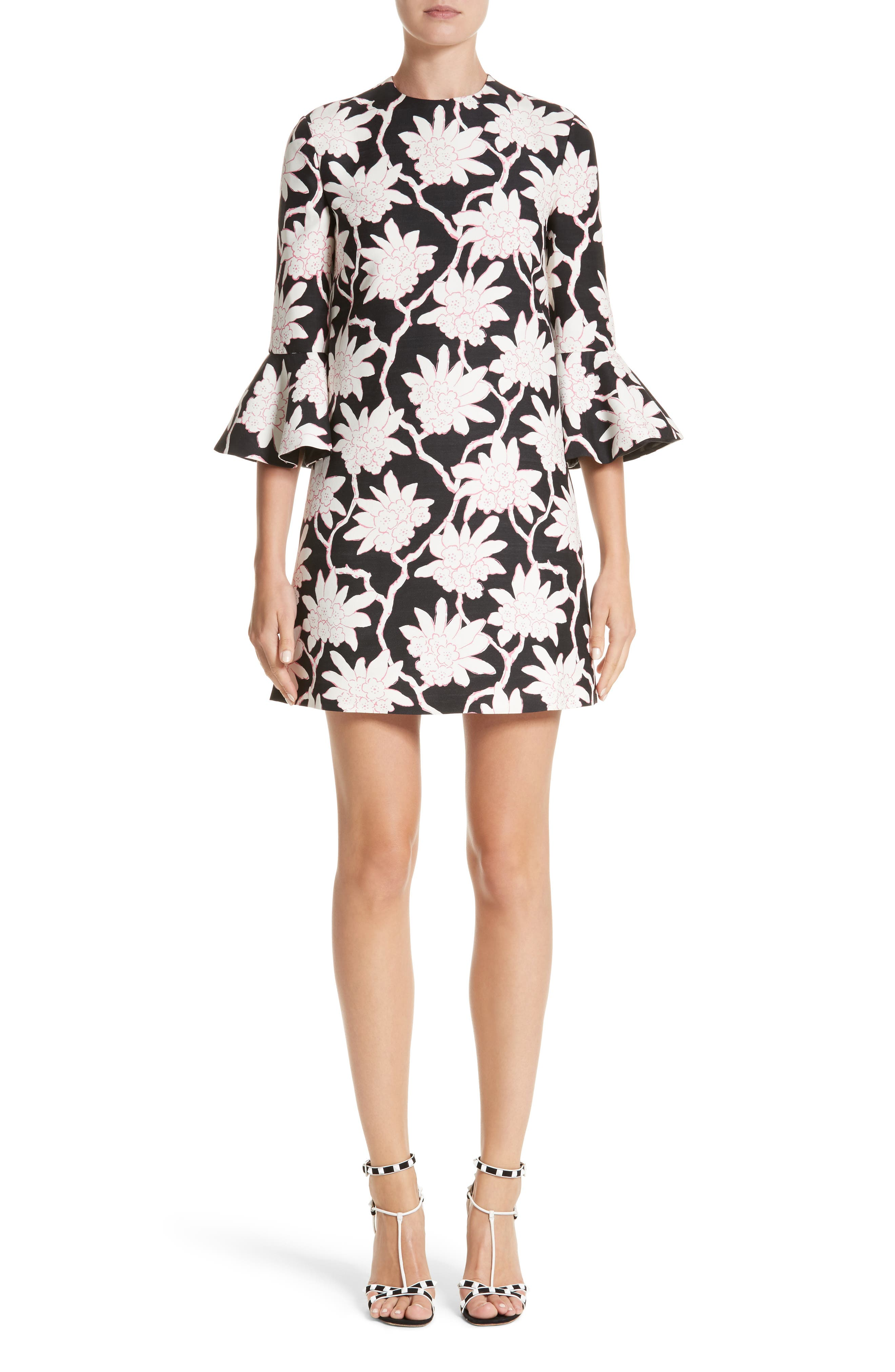 Rhododendron Print Wool & Silk Dress,                             Main thumbnail 1, color,                             Black