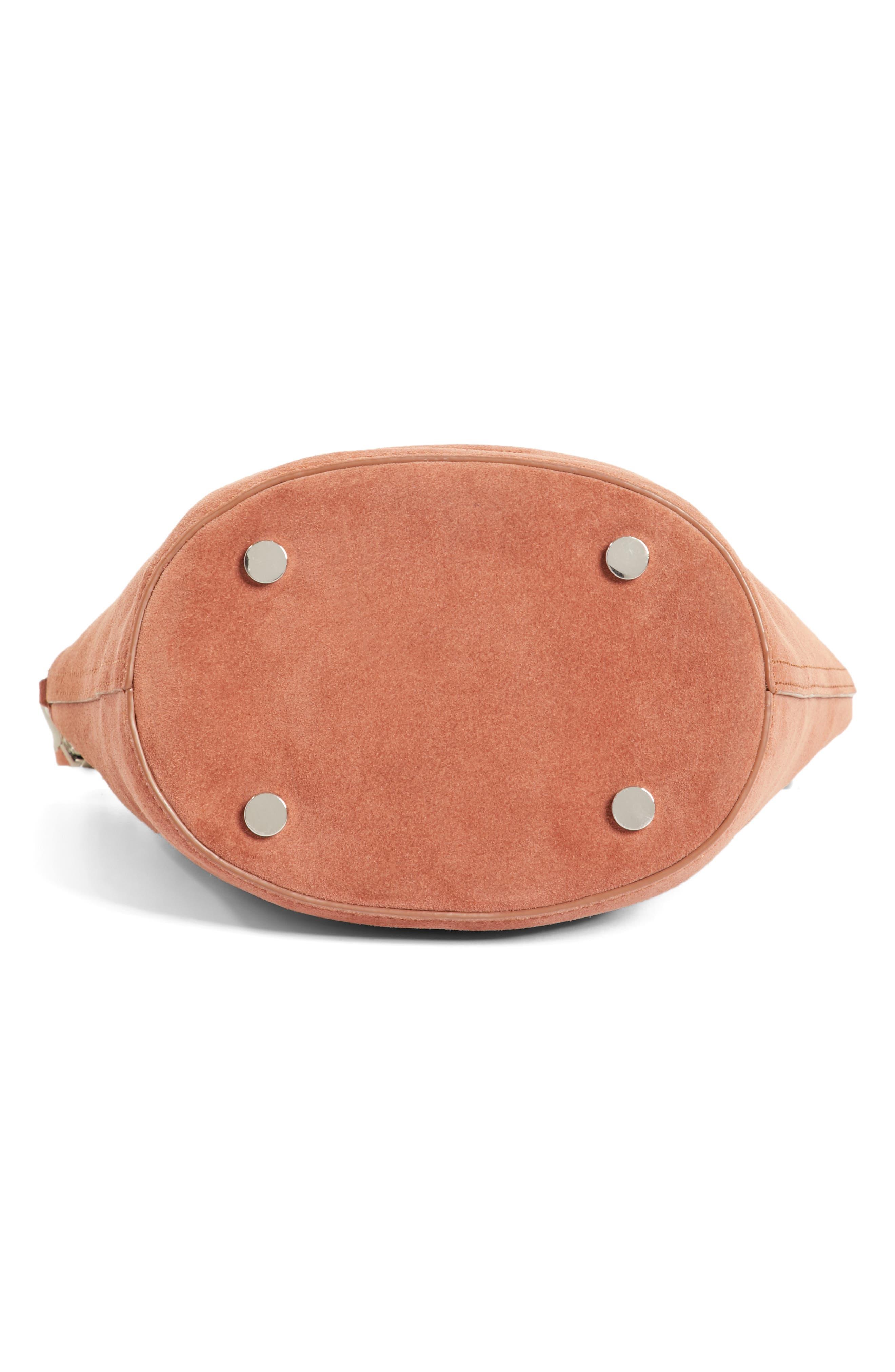 Ace Suede Bucket Bag,                             Alternate thumbnail 6, color,                             Terracotta