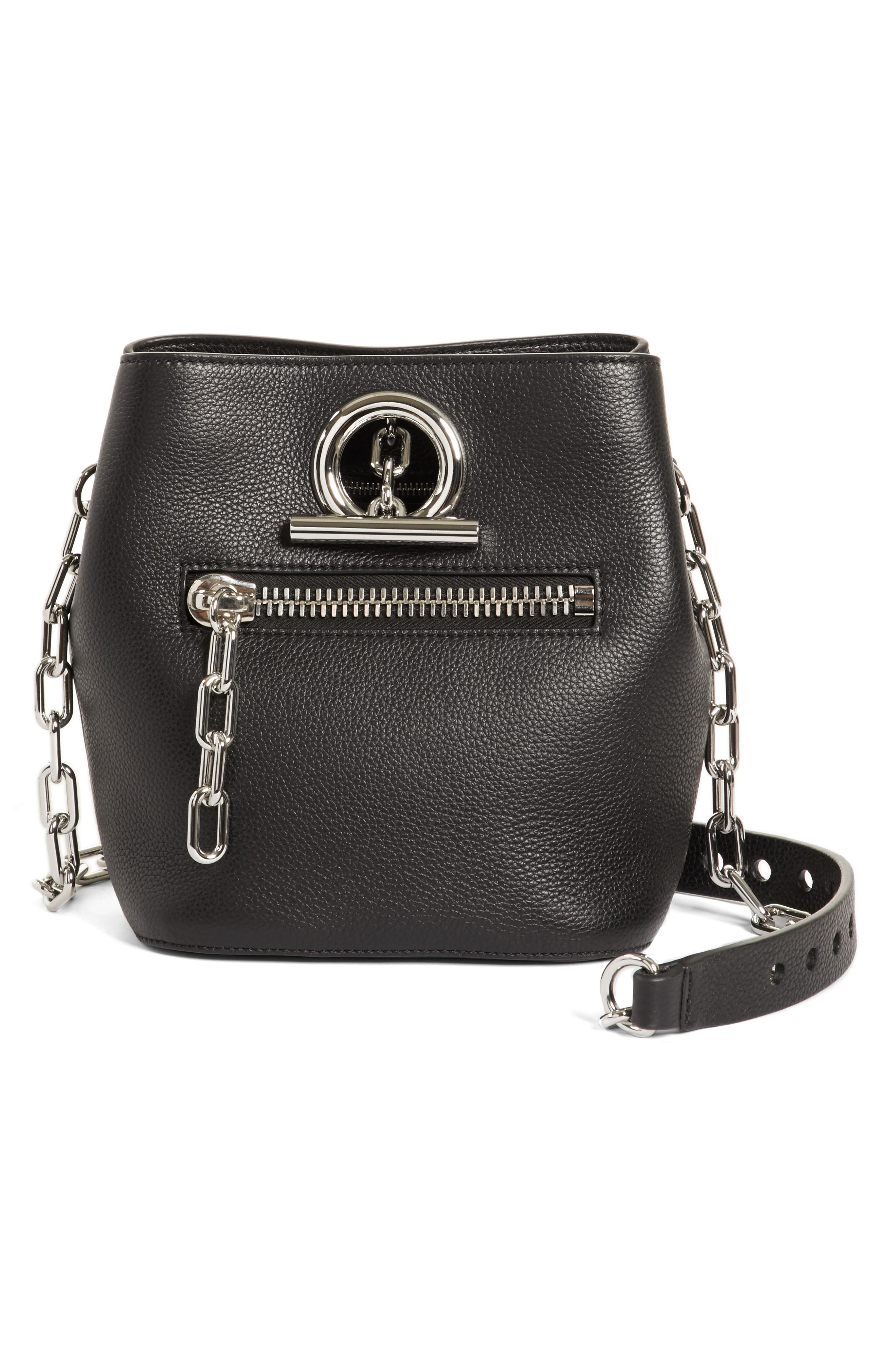 Riot Leather Crossbody Bag,                             Main thumbnail 1, color,                             Black