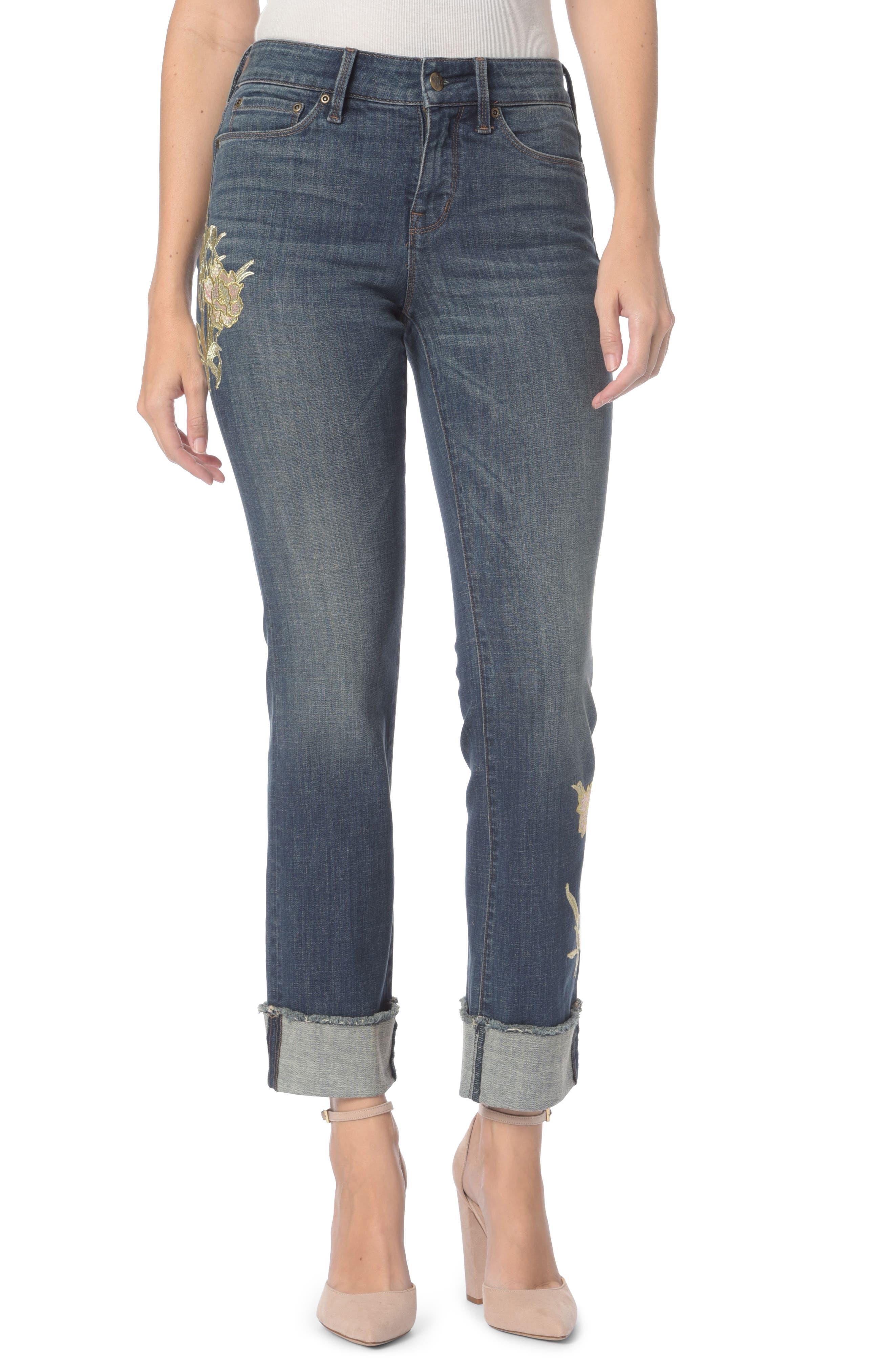 Marilyn Appliqué Stretch Straight Leg Ankle Jeans,                             Main thumbnail 1, color,                             Desert Gold