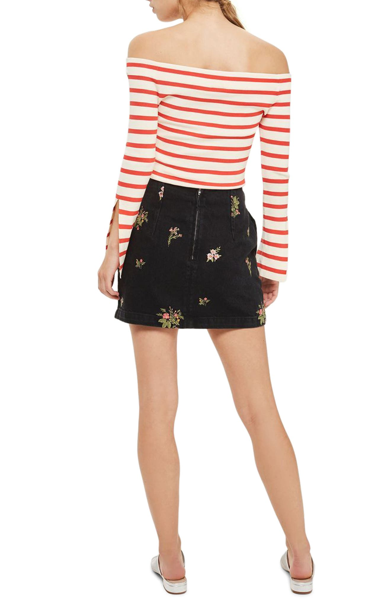 Romantic Floral Denim Miniskirt,                             Alternate thumbnail 3, color,                             Washed Black