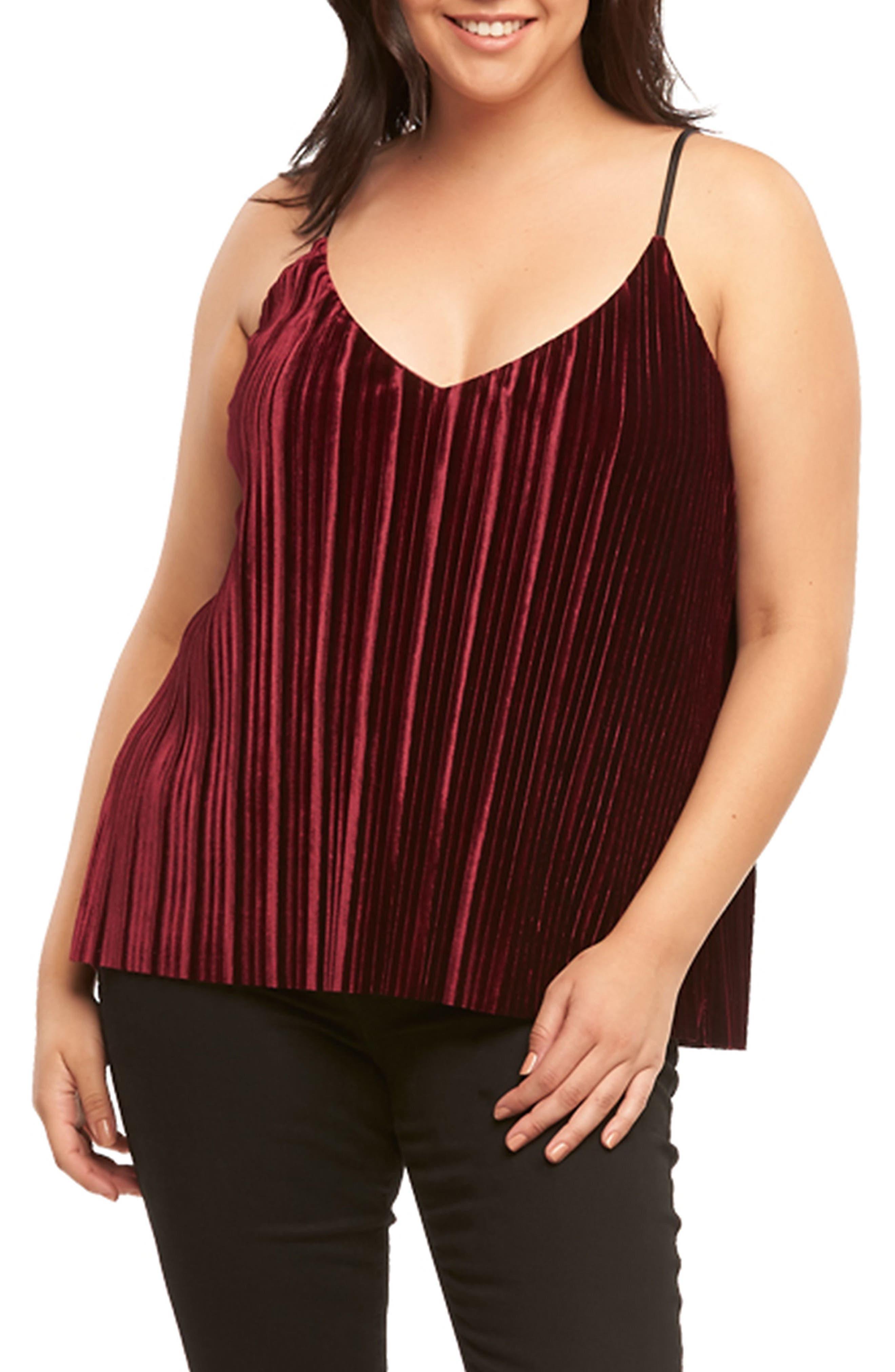 Alternate Image 1 Selected - Tart Maren Pleat Velvet Camisole (Plus Size)