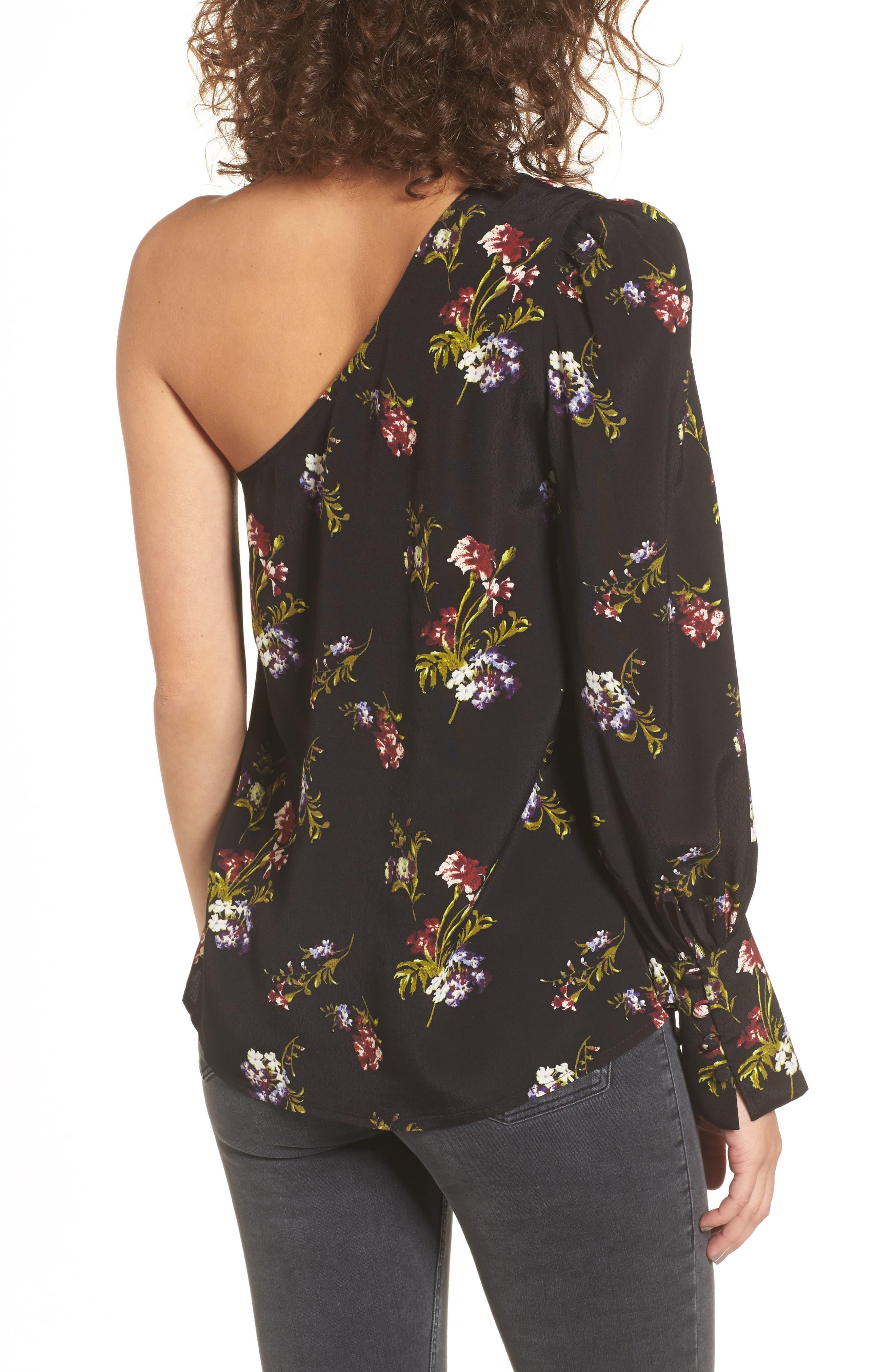 Print One-Shoulder Top,                             Alternate thumbnail 2, color,                             Black Falling Bouquet