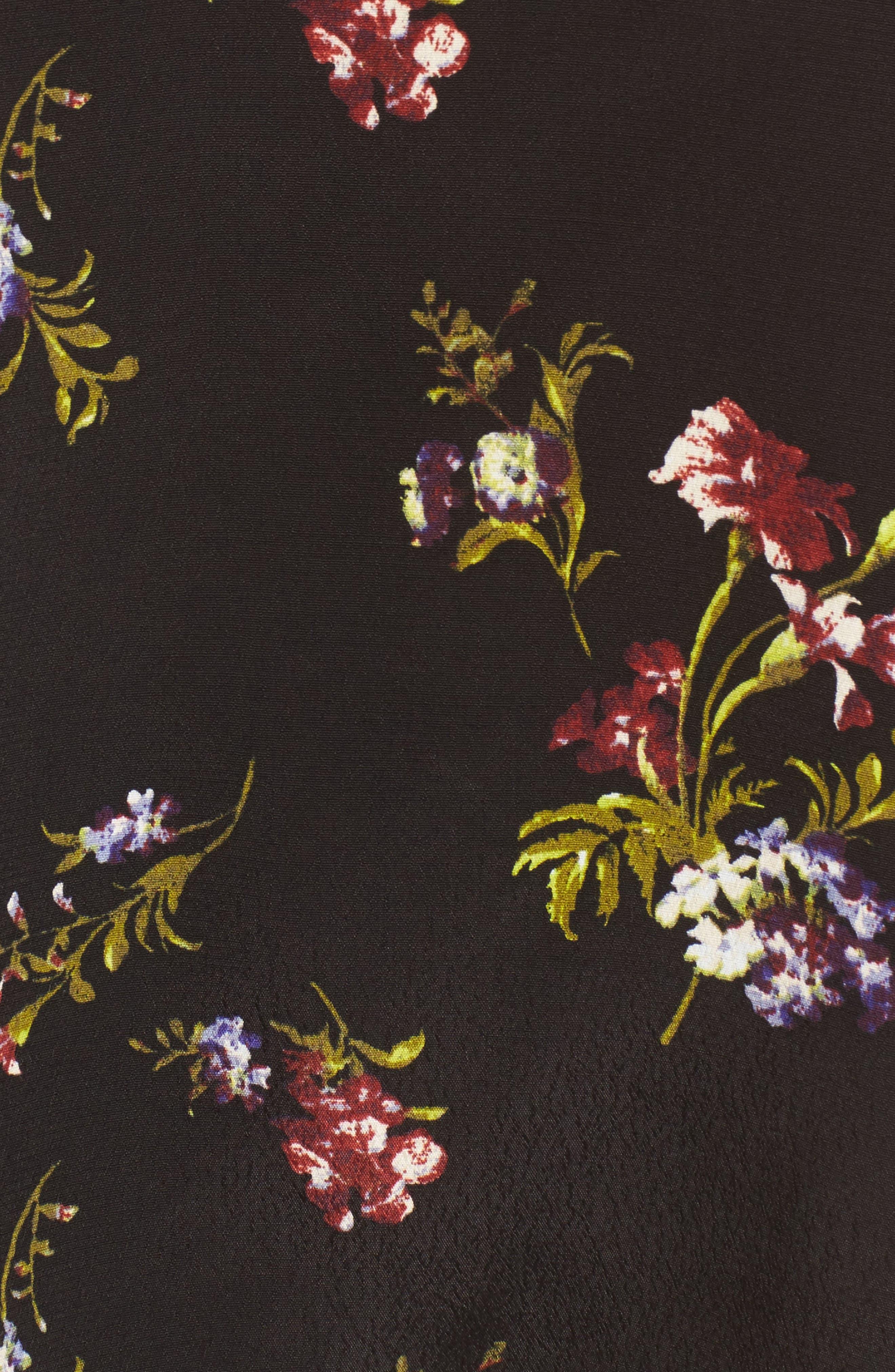 Print One-Shoulder Top,                             Alternate thumbnail 5, color,                             Black Falling Bouquet