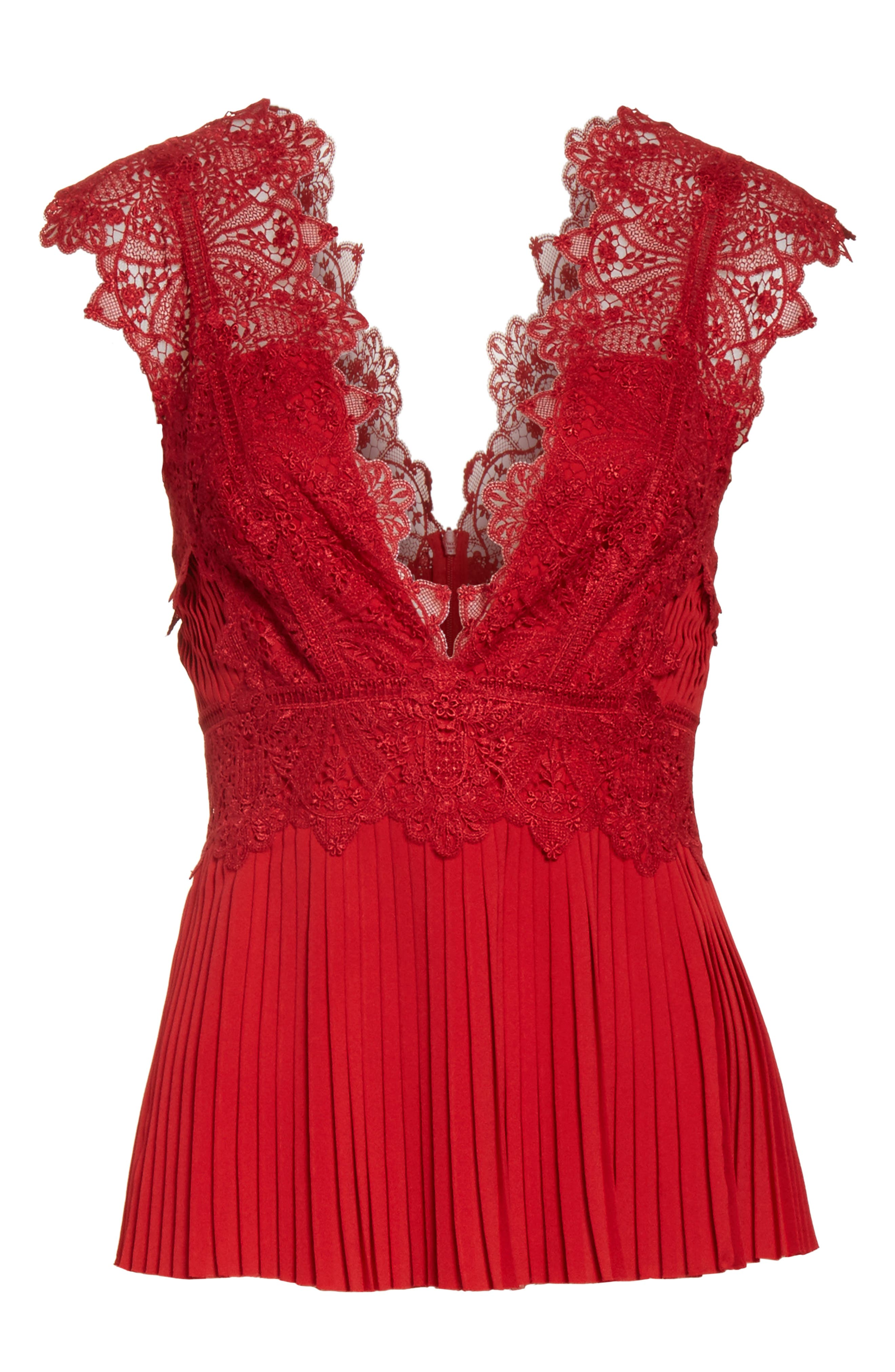 Coral Embroidered Pleated Top,                             Alternate thumbnail 6, color,                             Scarlet