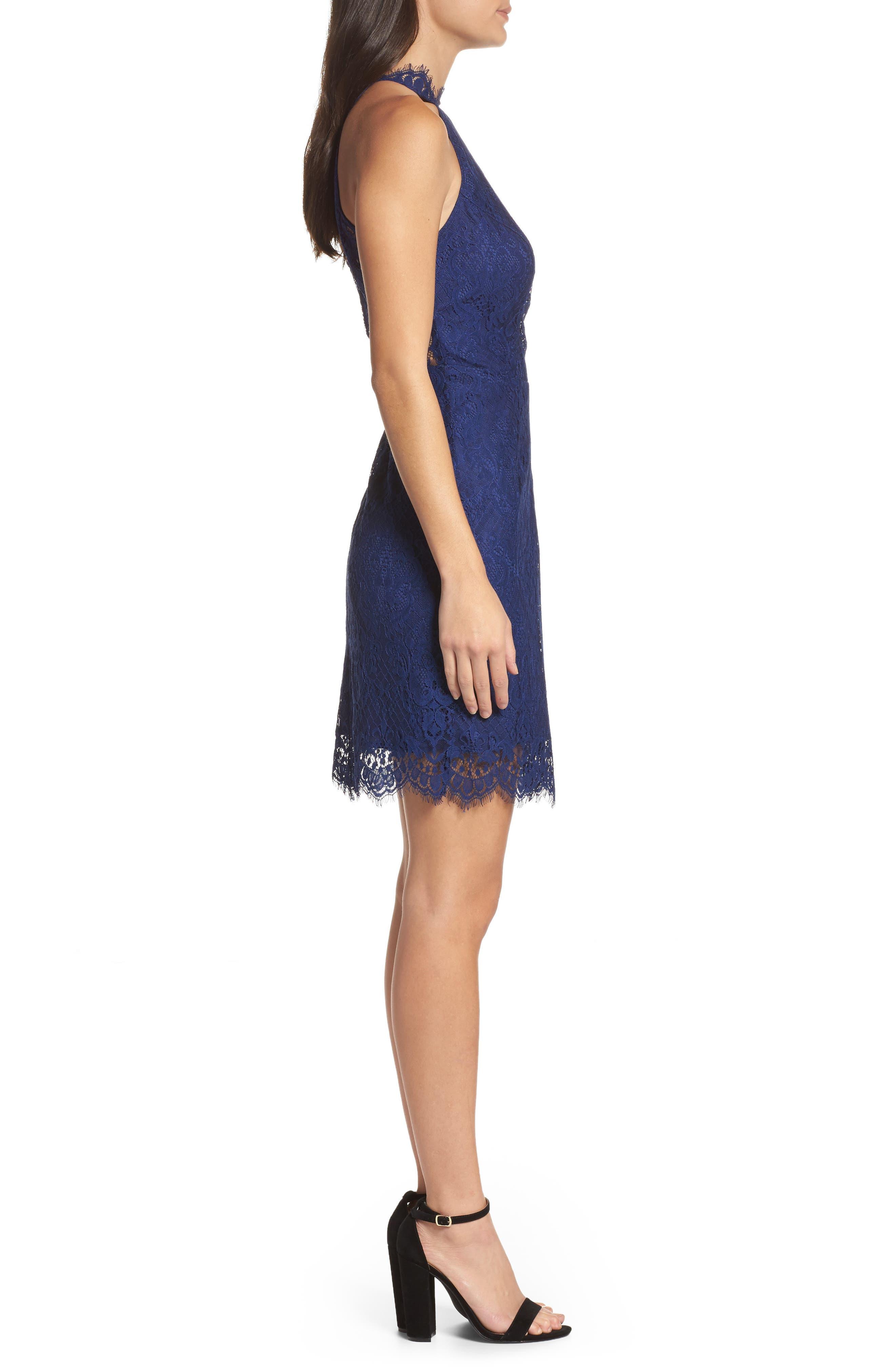 Cherie Lace Halter Sheath Dress,                             Alternate thumbnail 3, color,                             Blue