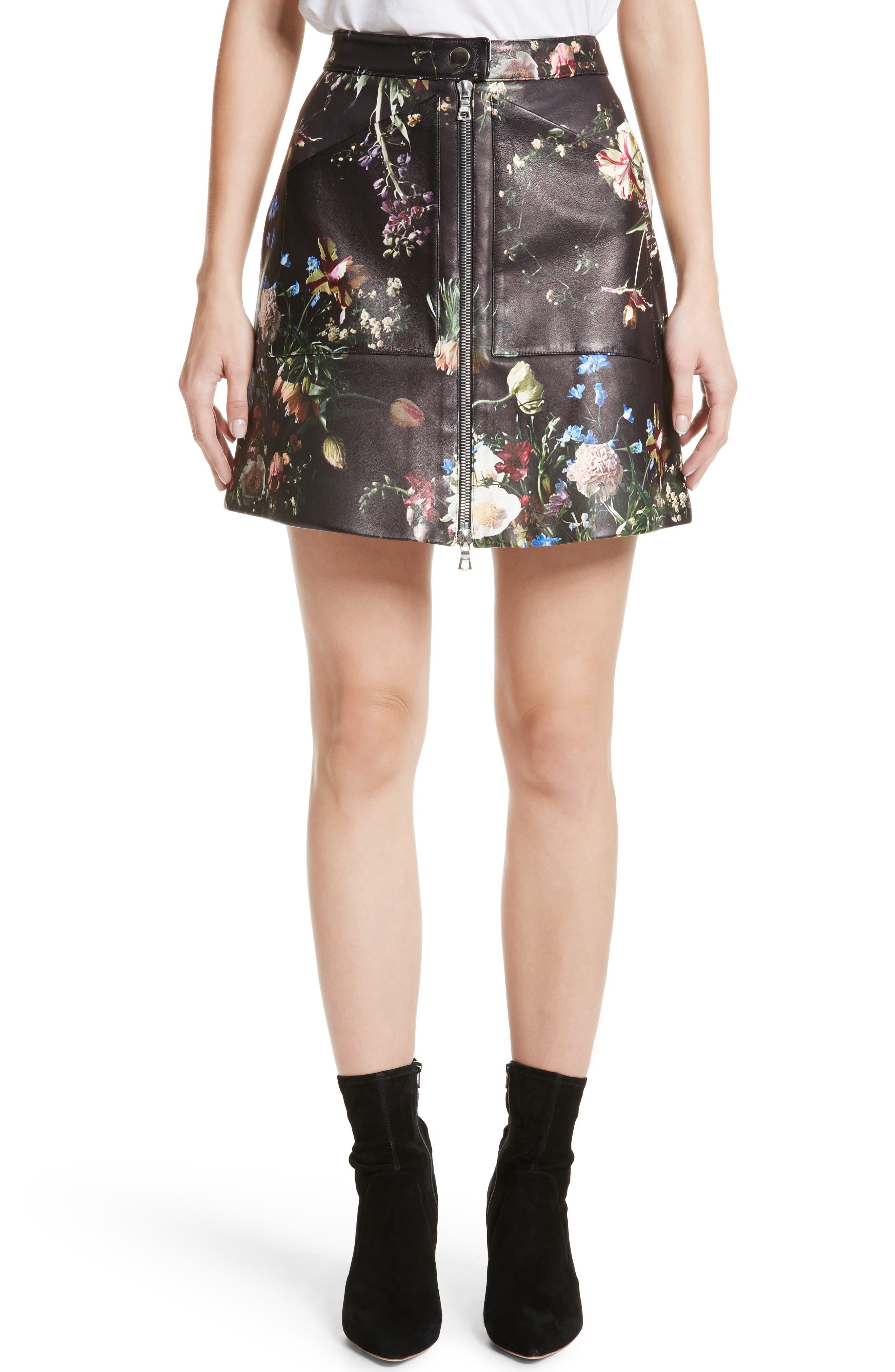 Floral Print Leather Miniskirt,                             Main thumbnail 1, color,                             Black