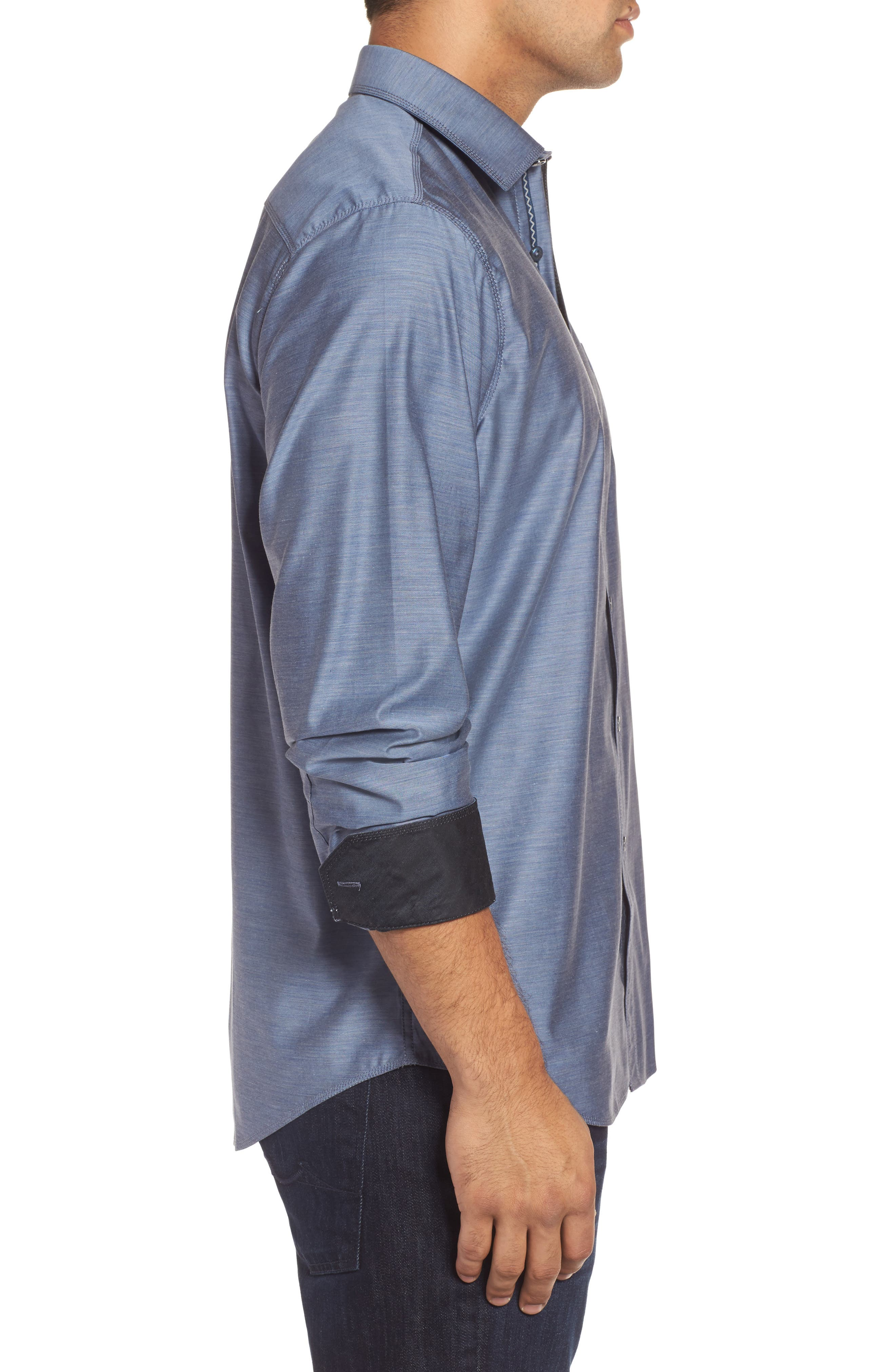 Classic Fit Sport Shirt,                             Alternate thumbnail 3, color,                             Steel