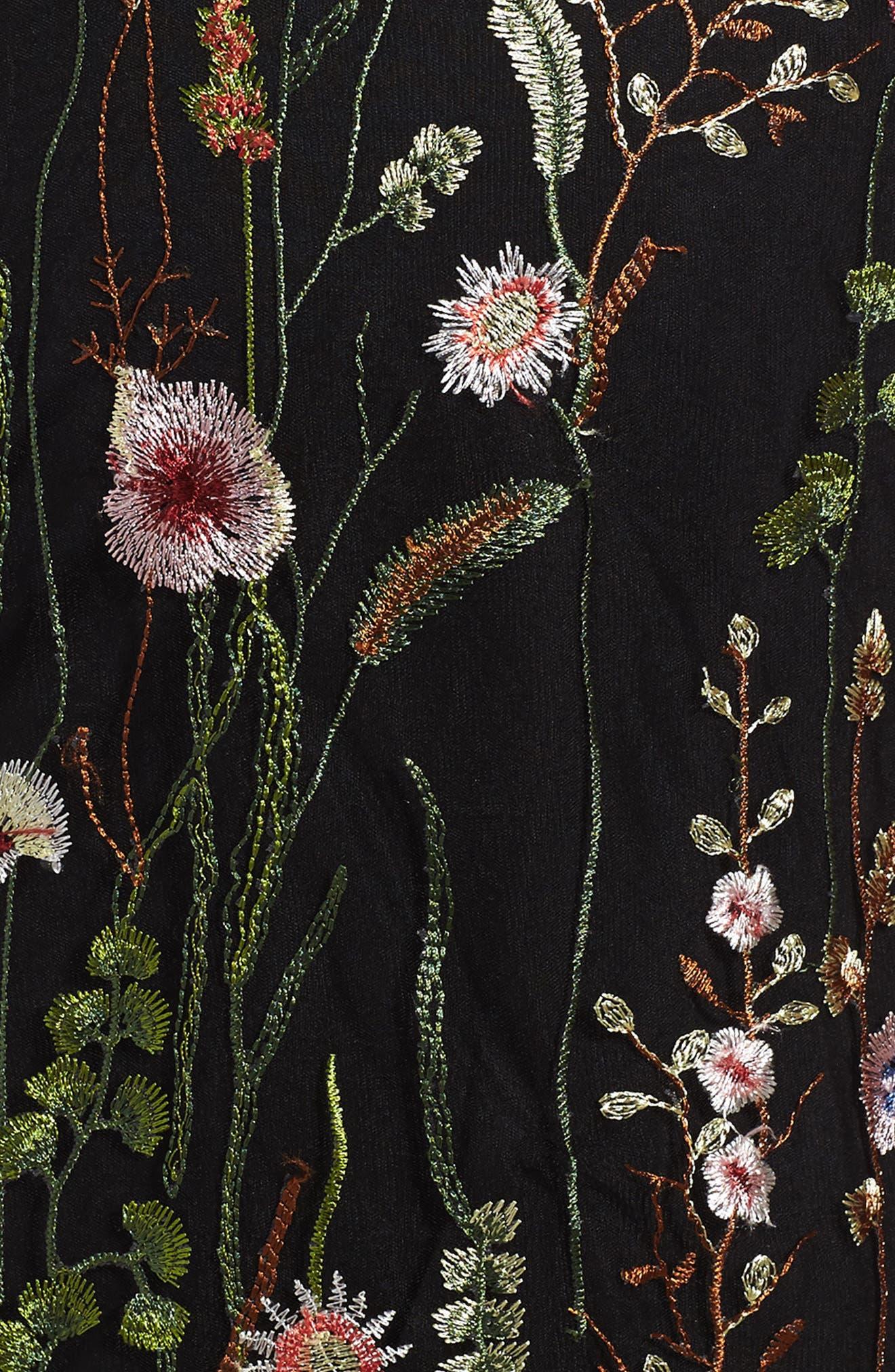 Embroidered Mesh Dress,                             Alternate thumbnail 3, color,                             Black Multi