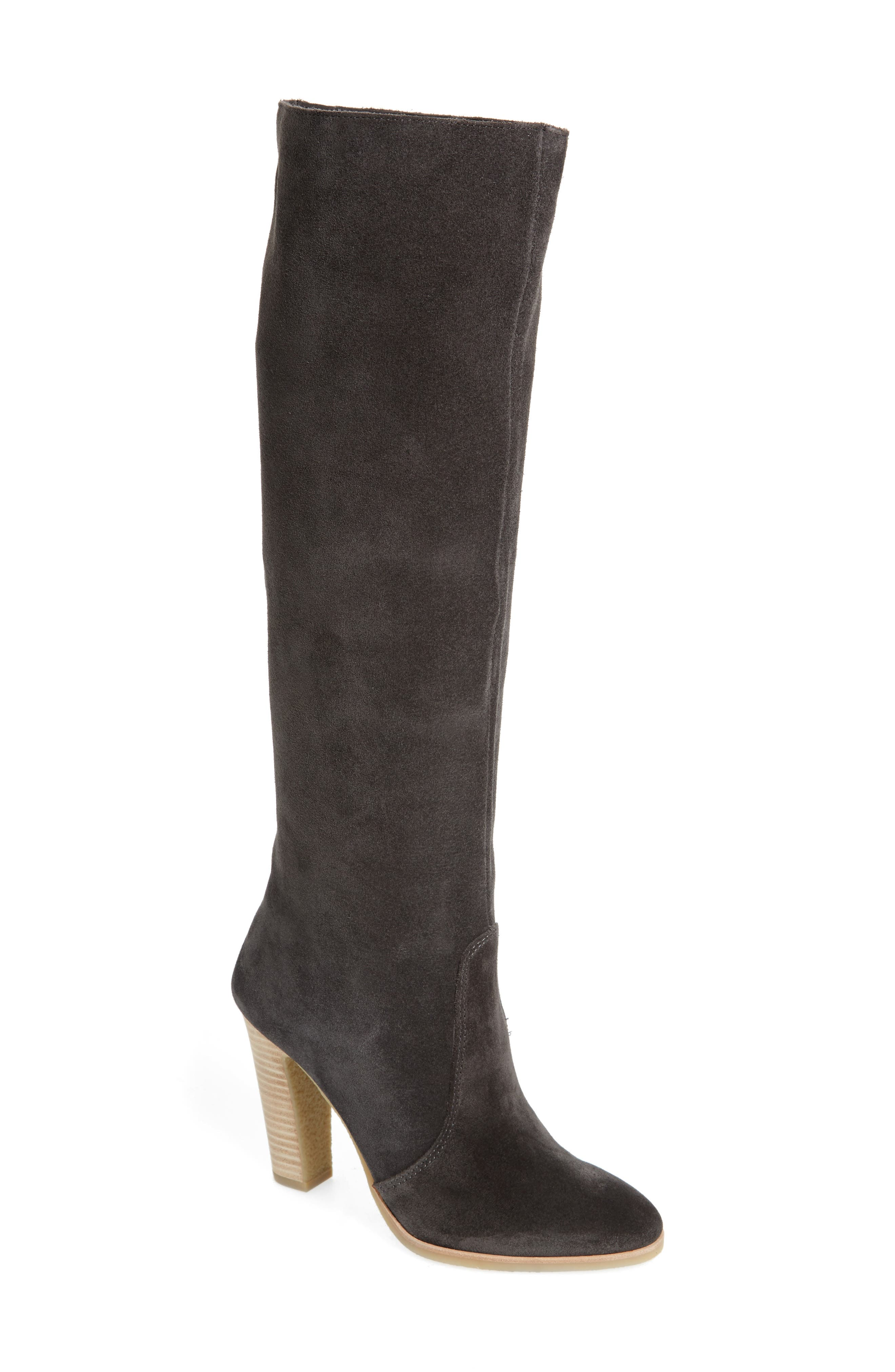 Celine Knee-High Boot,                         Main,                         color, Anthracite Suede