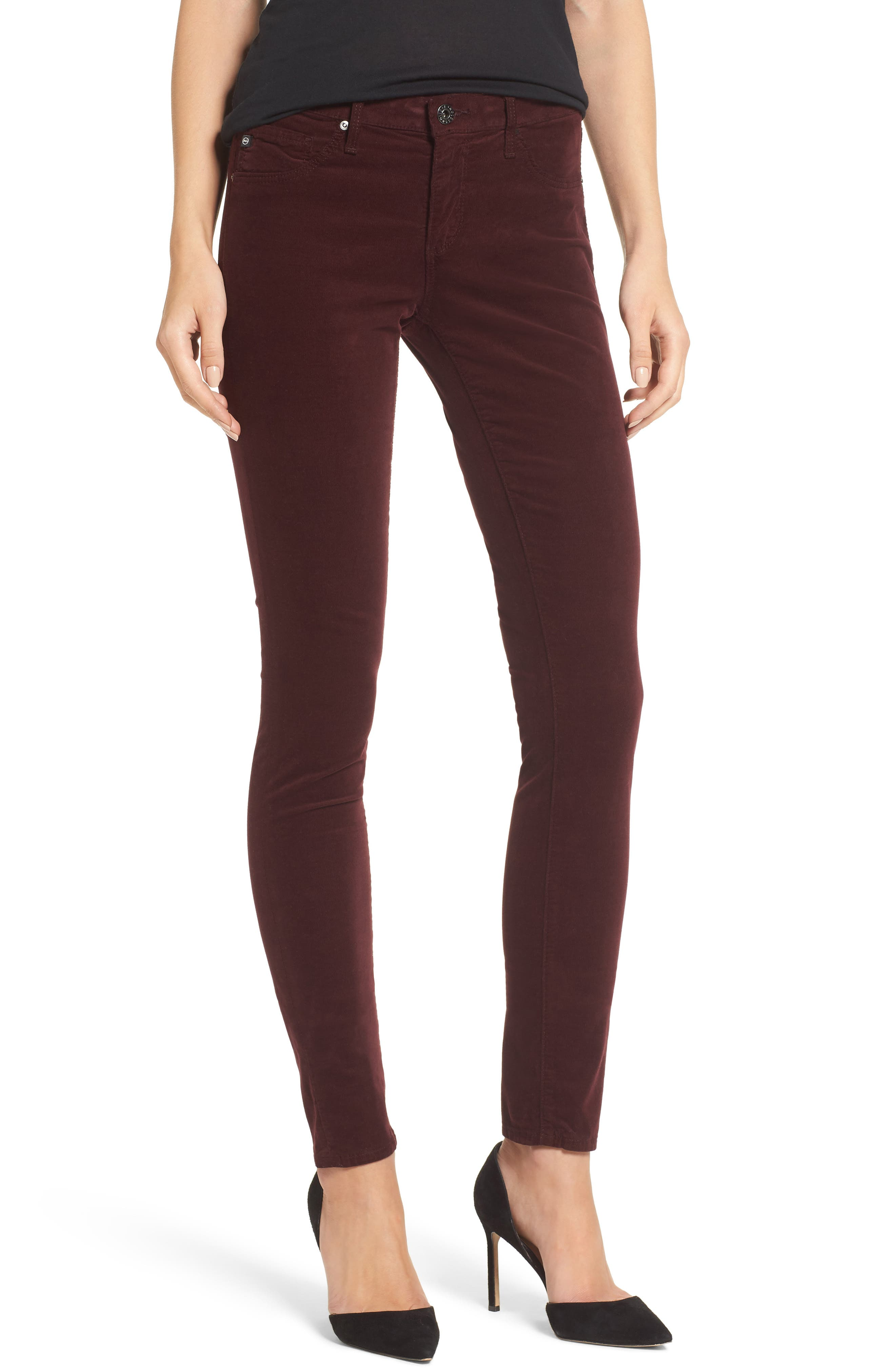 The Legging Super Skinny Corduroy Pants,                         Main,                         color, Deep Currant