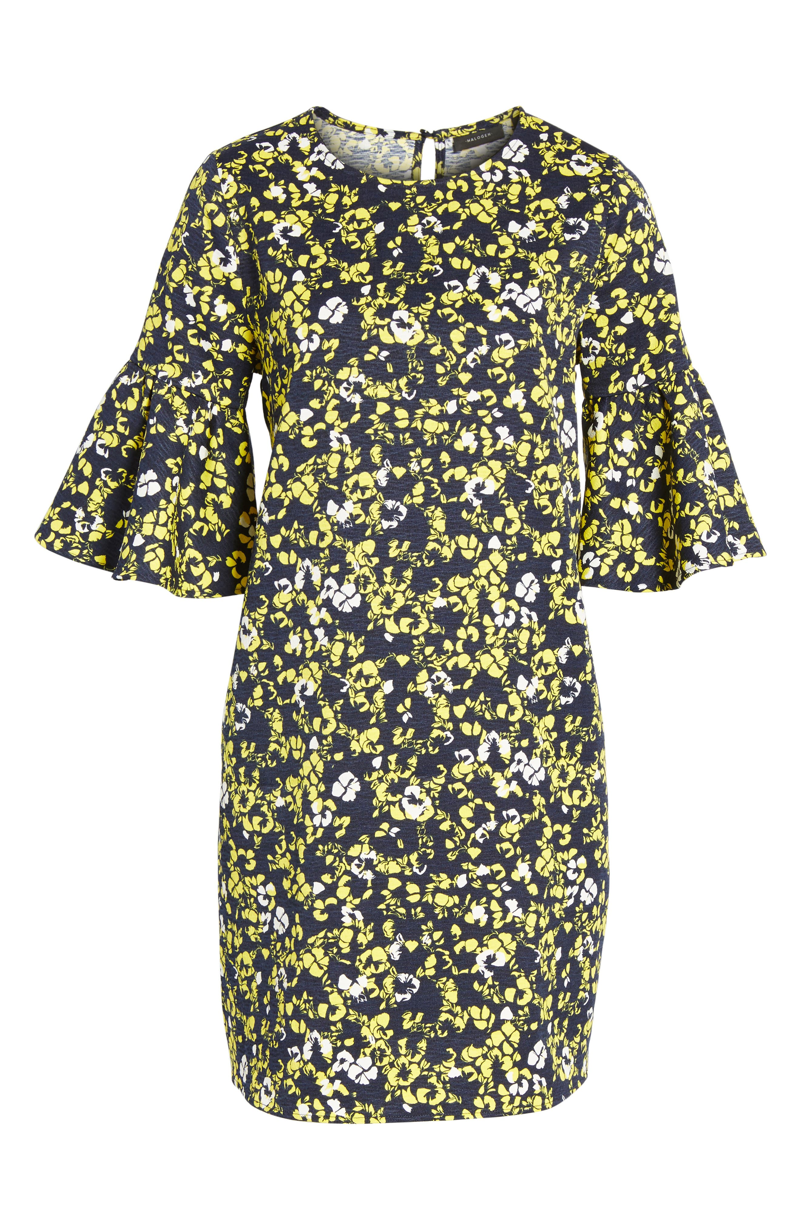 Ruffle Sleeve Shift Dress,                             Alternate thumbnail 6, color,                             Navy- Yellow Floral