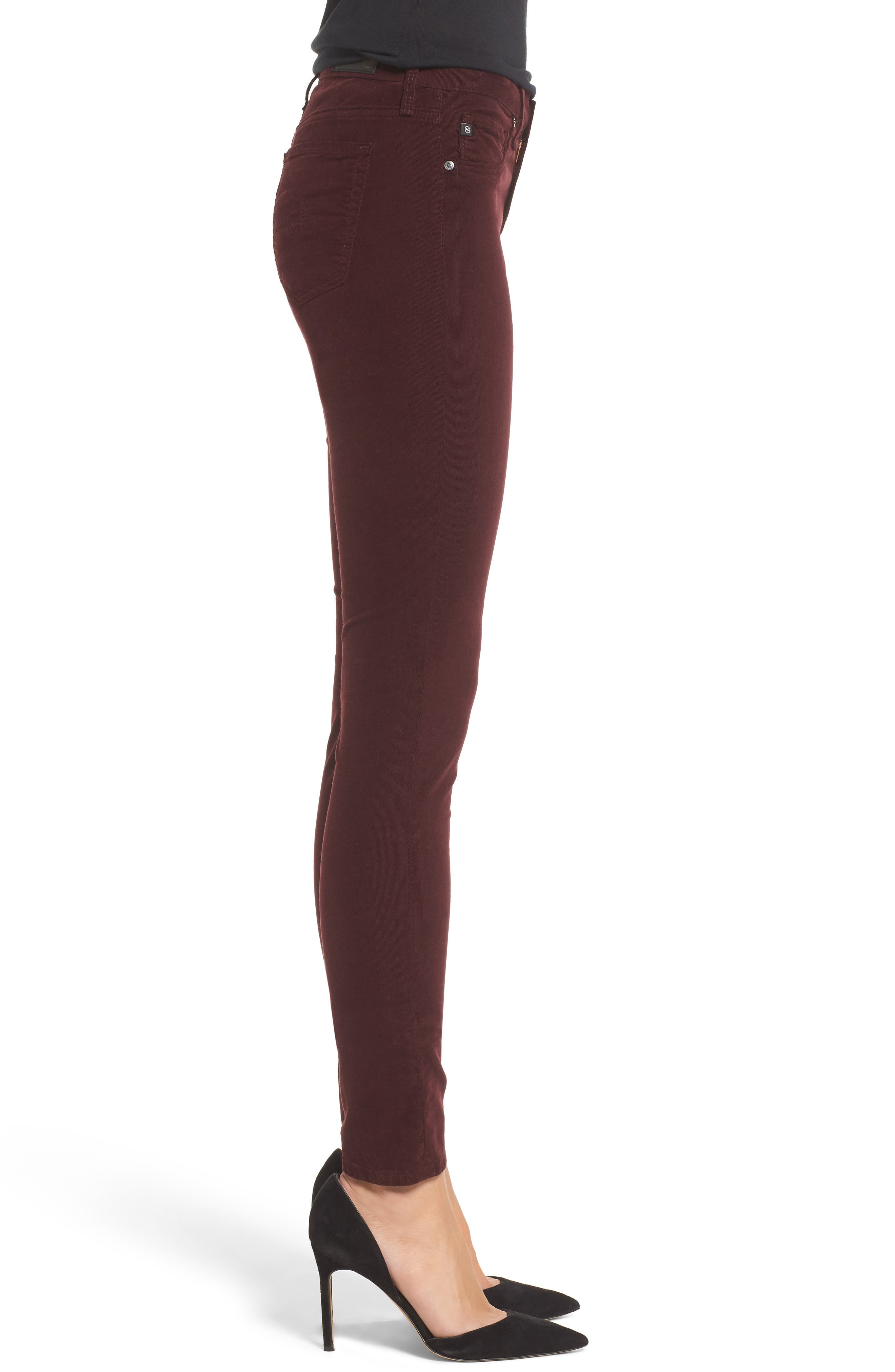 The Legging Super Skinny Corduroy Pants,                             Alternate thumbnail 3, color,                             Deep Currant