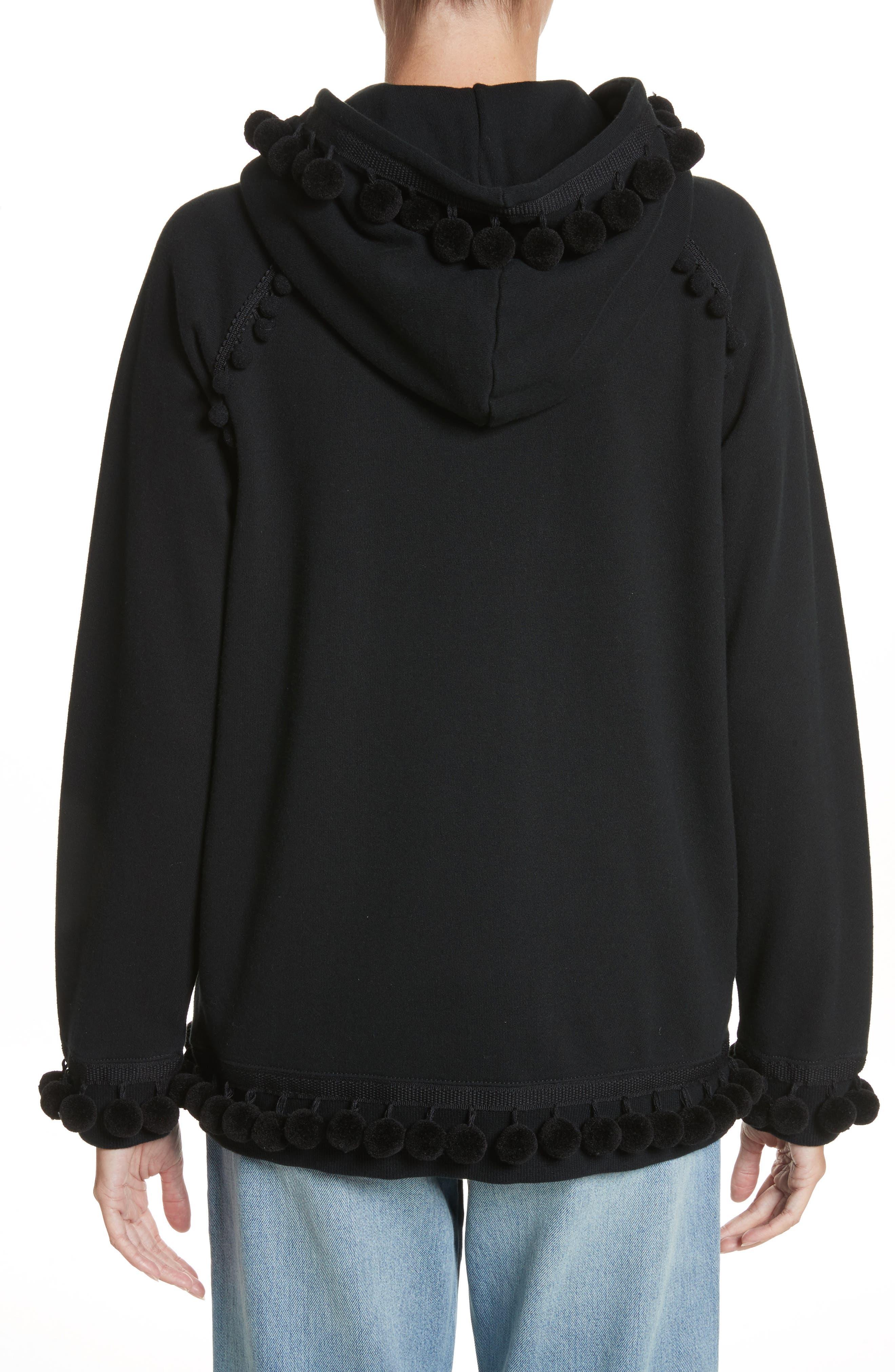 Pompom Trim Sweatshirt,                             Alternate thumbnail 2, color,                             Black