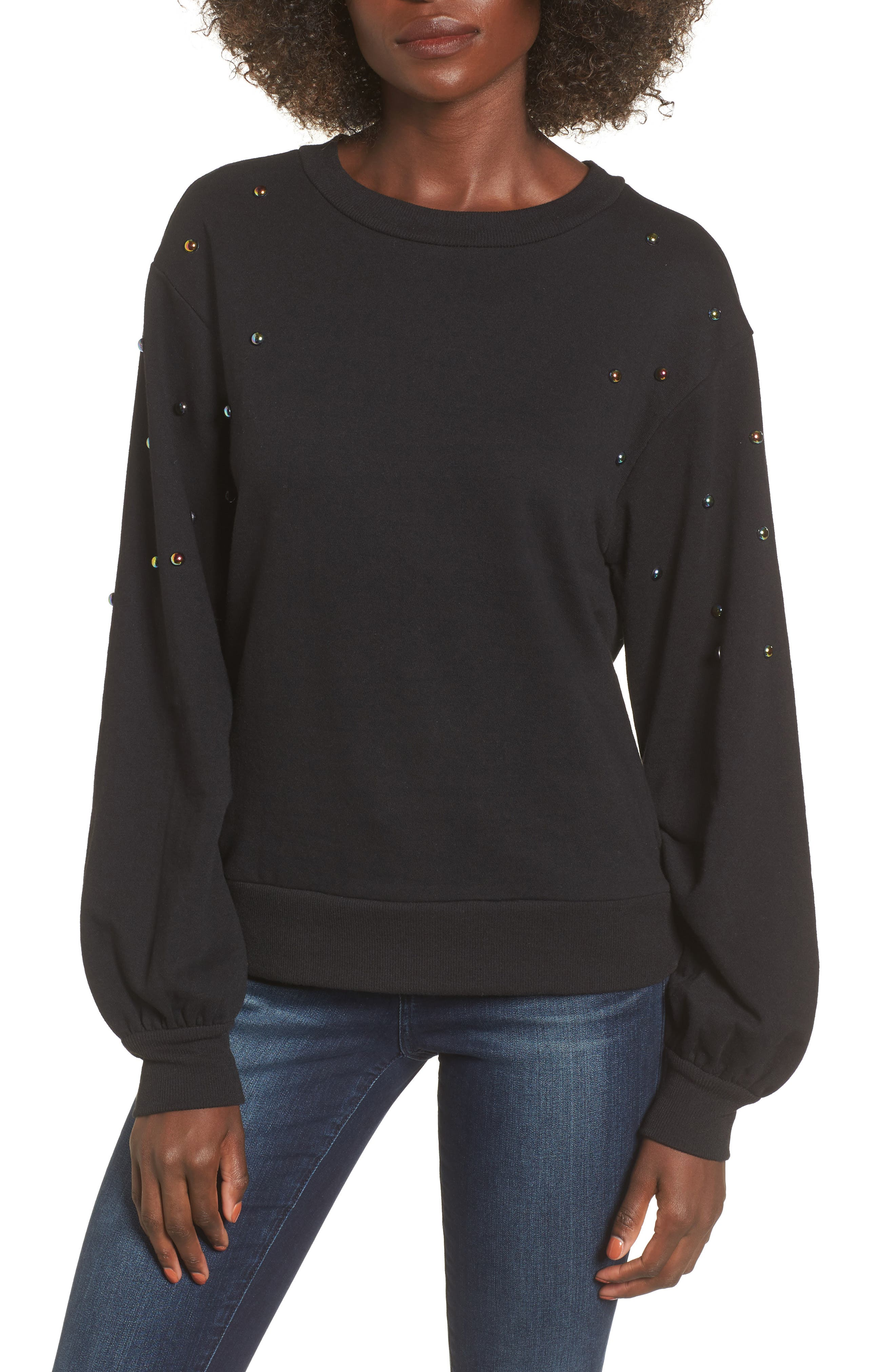 Studded Bell Sleeve Pullover,                         Main,                         color, Black
