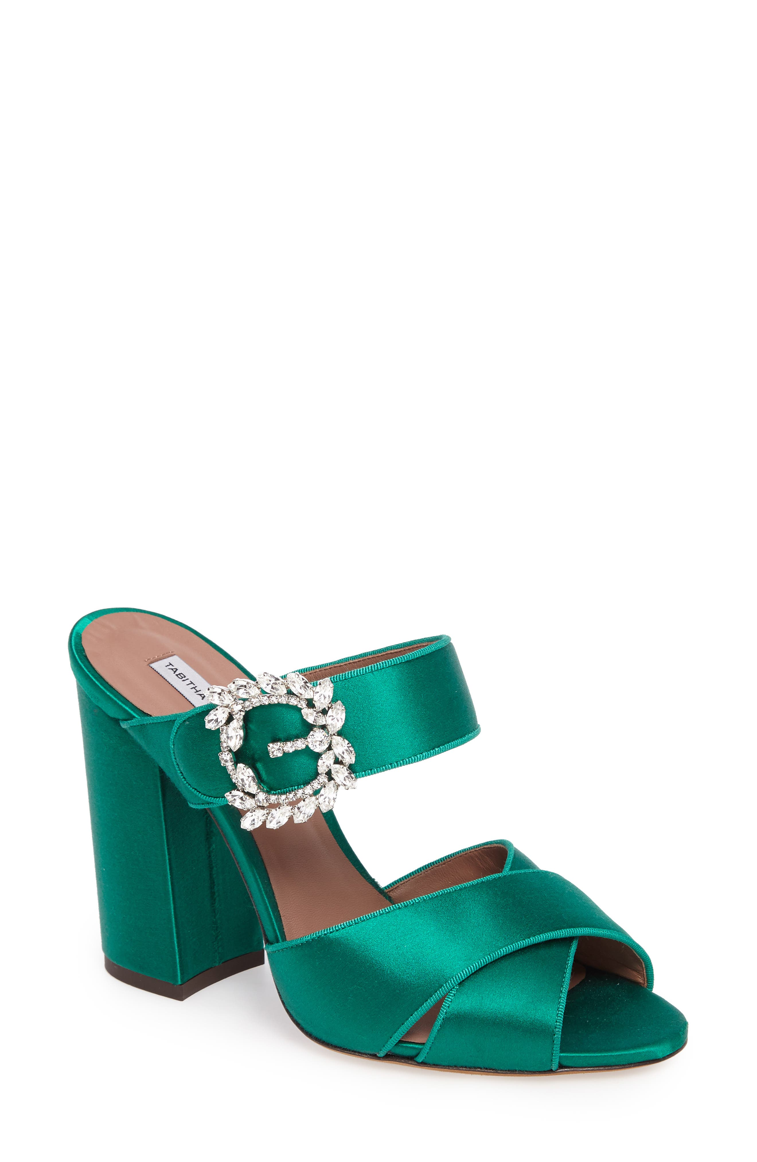 Reyner Crystal Buckle Sandal,                             Main thumbnail 1, color,                             Emerald Green