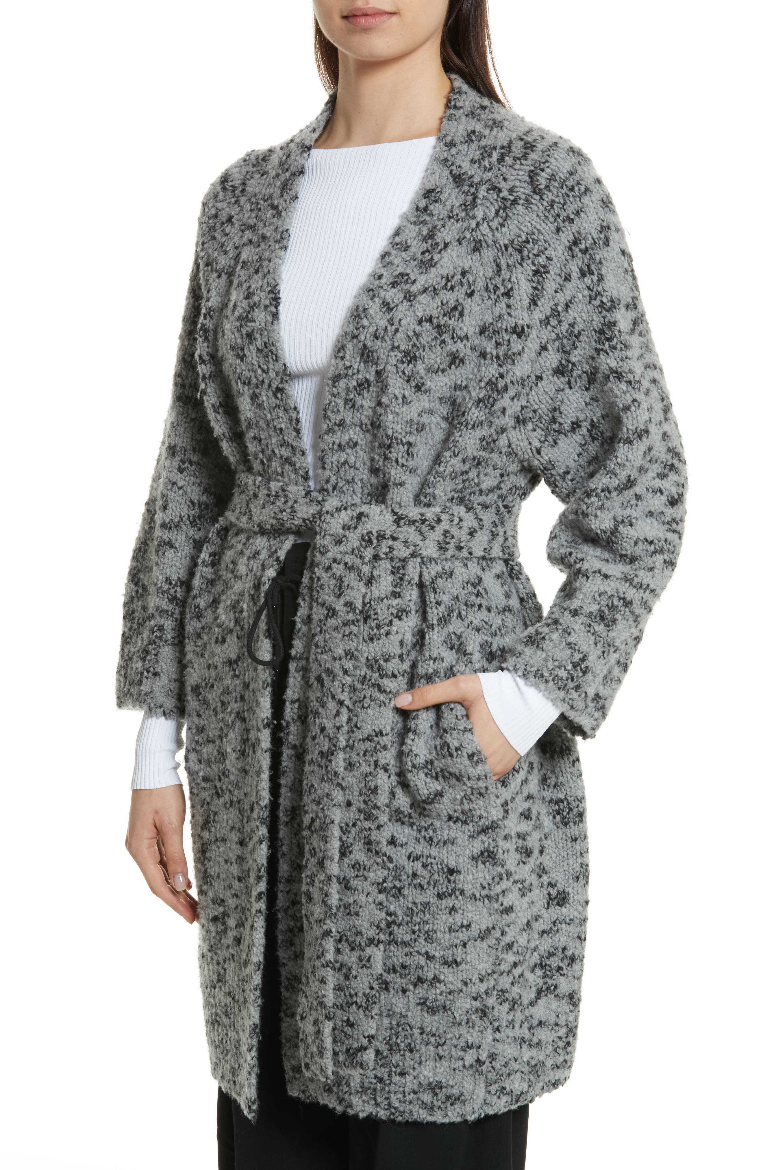 Textured Wool Blend Cardigan,                             Alternate thumbnail 4, color,                             Grey/ Black