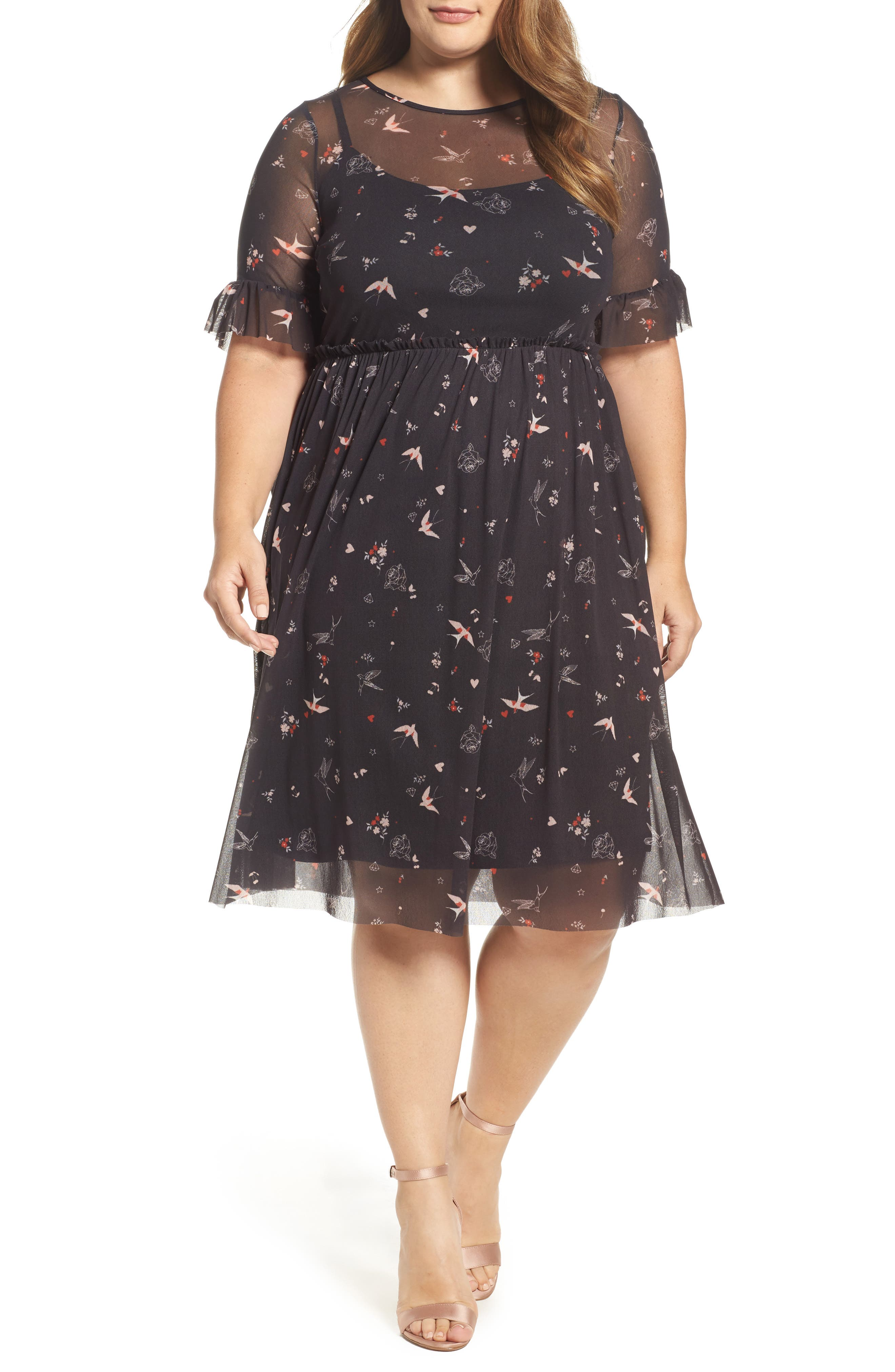 Evans Print Mesh Fit & Flare Dresss (Plus Size)