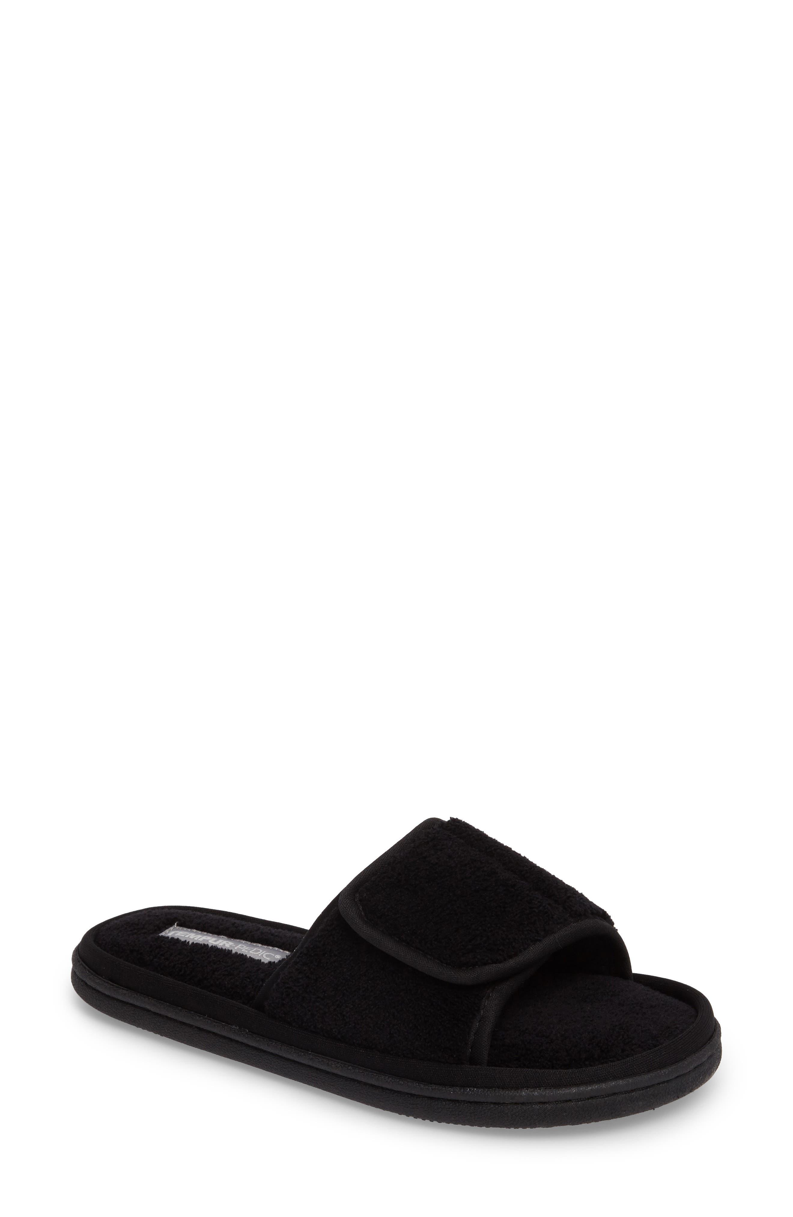 Geana Slipper,                             Main thumbnail 1, color,                             Black Fabric