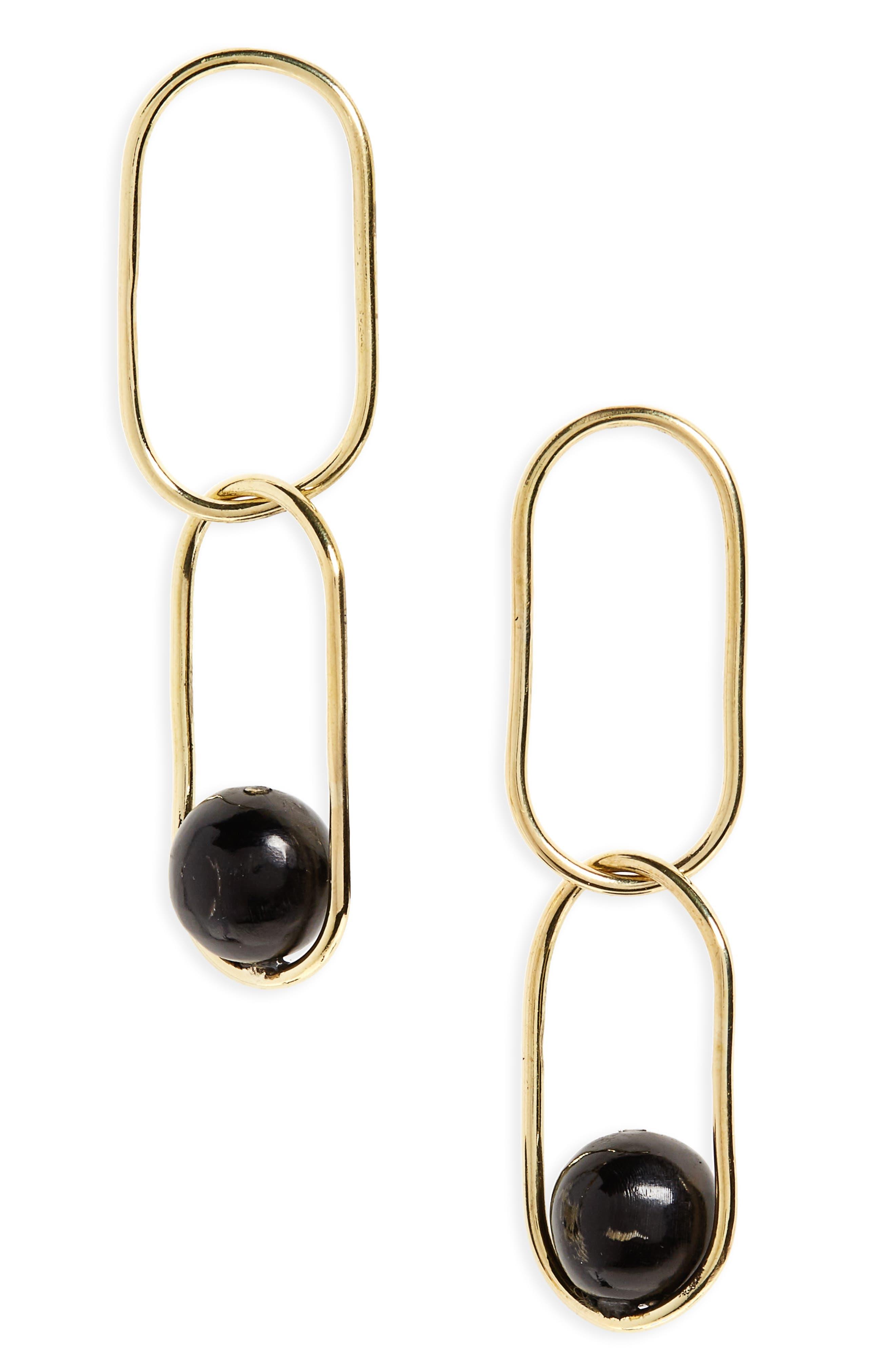 Sawa Link Drop Earrings,                             Main thumbnail 1, color,                             Brass And Black