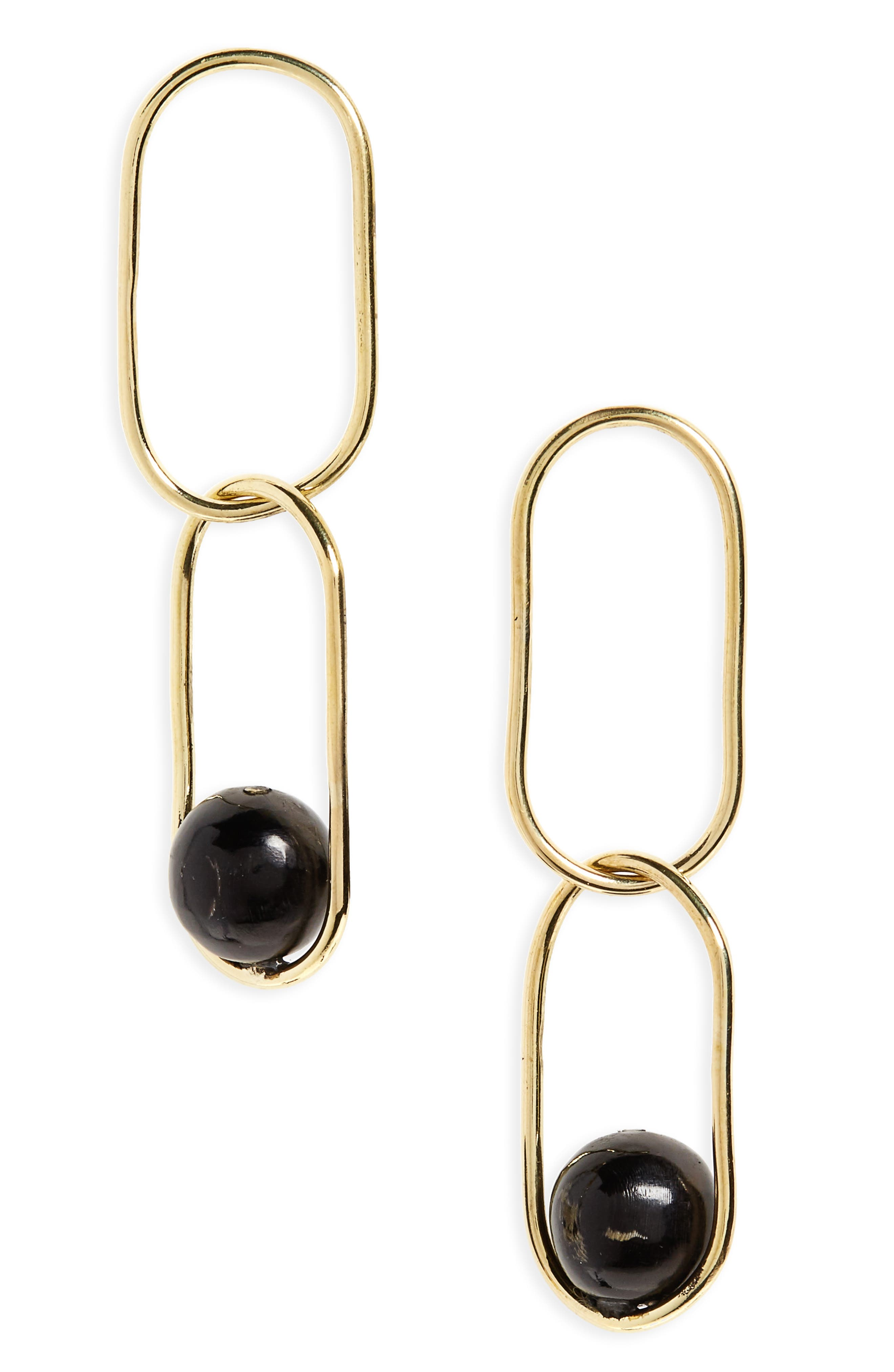 Sawa Link Drop Earrings,                         Main,                         color, Brass And Black