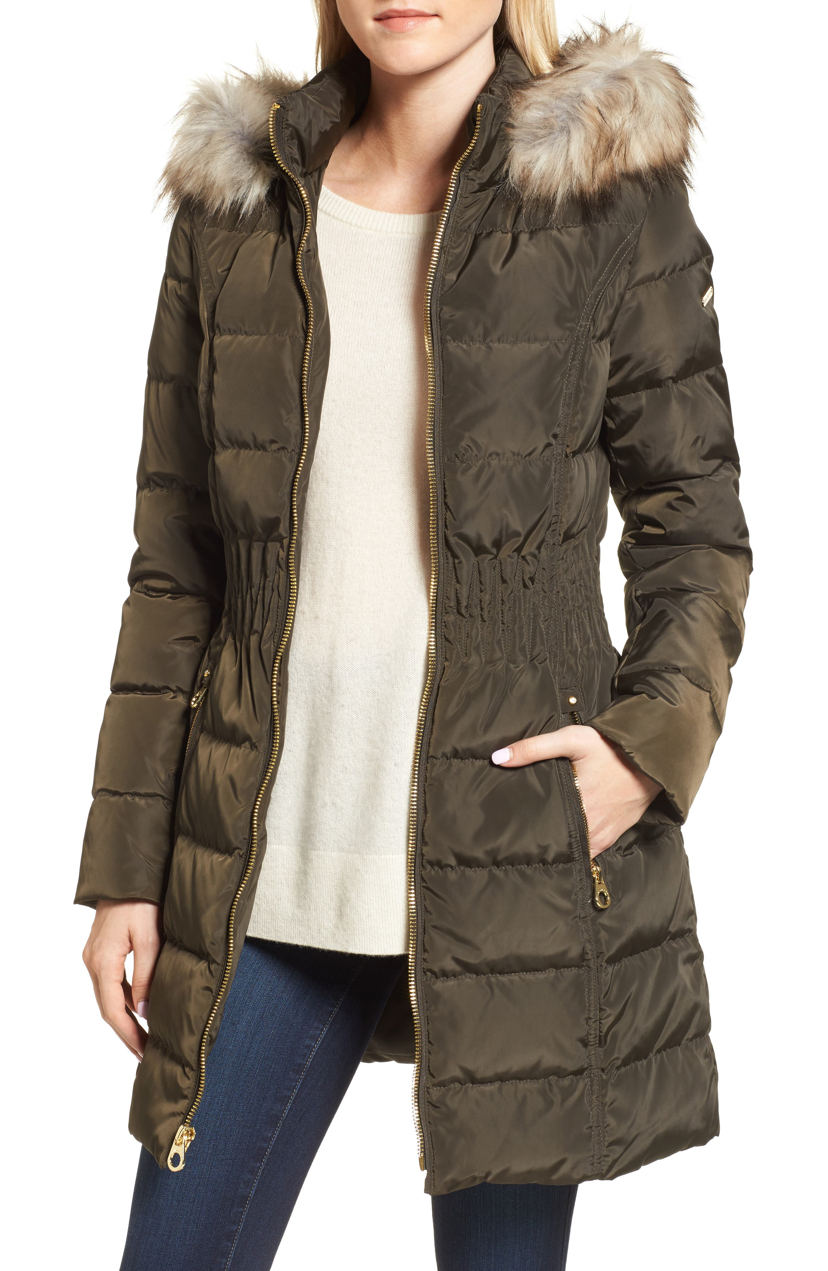 Alternate Image 1 Selected - Laundry by Shelli Segal Hooded Quilted Jacket with Faux Fur Trim