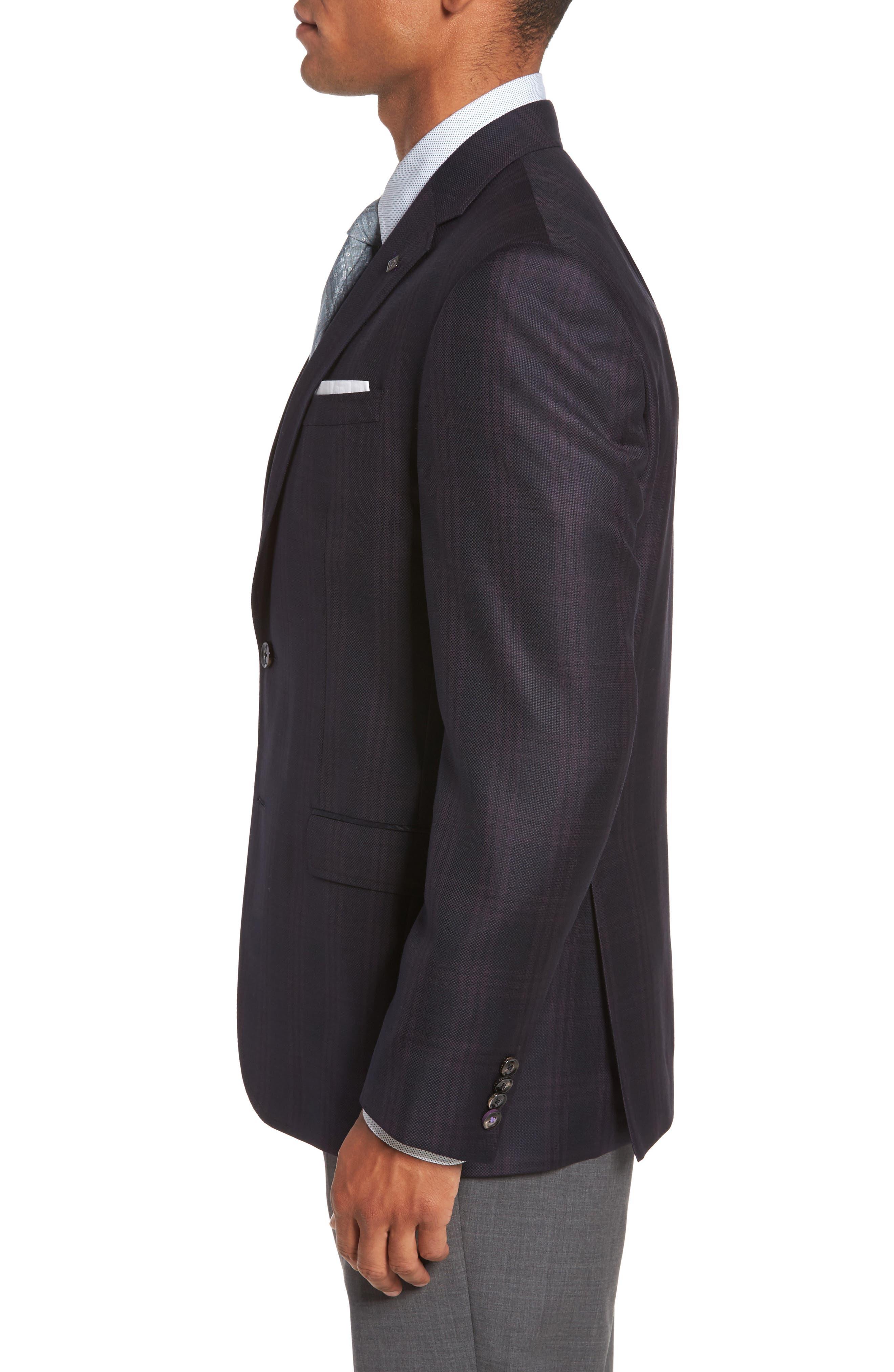 Jed Trim Fit Plaid Wool Sport Coat,                             Alternate thumbnail 3, color,                             Black
