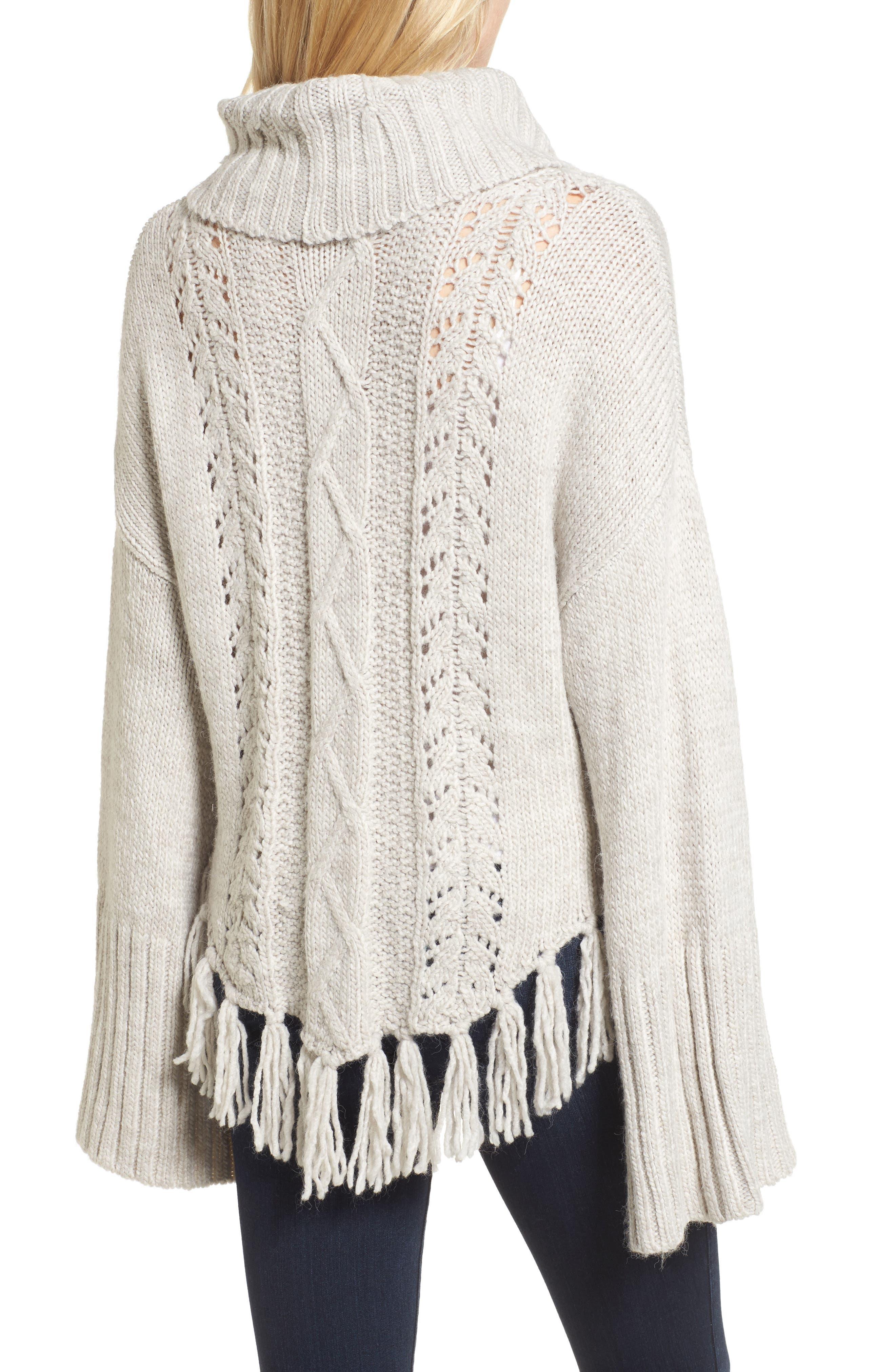 Prilla Fringe Cowl Neck Sweater,                             Alternate thumbnail 2, color,                             Latte