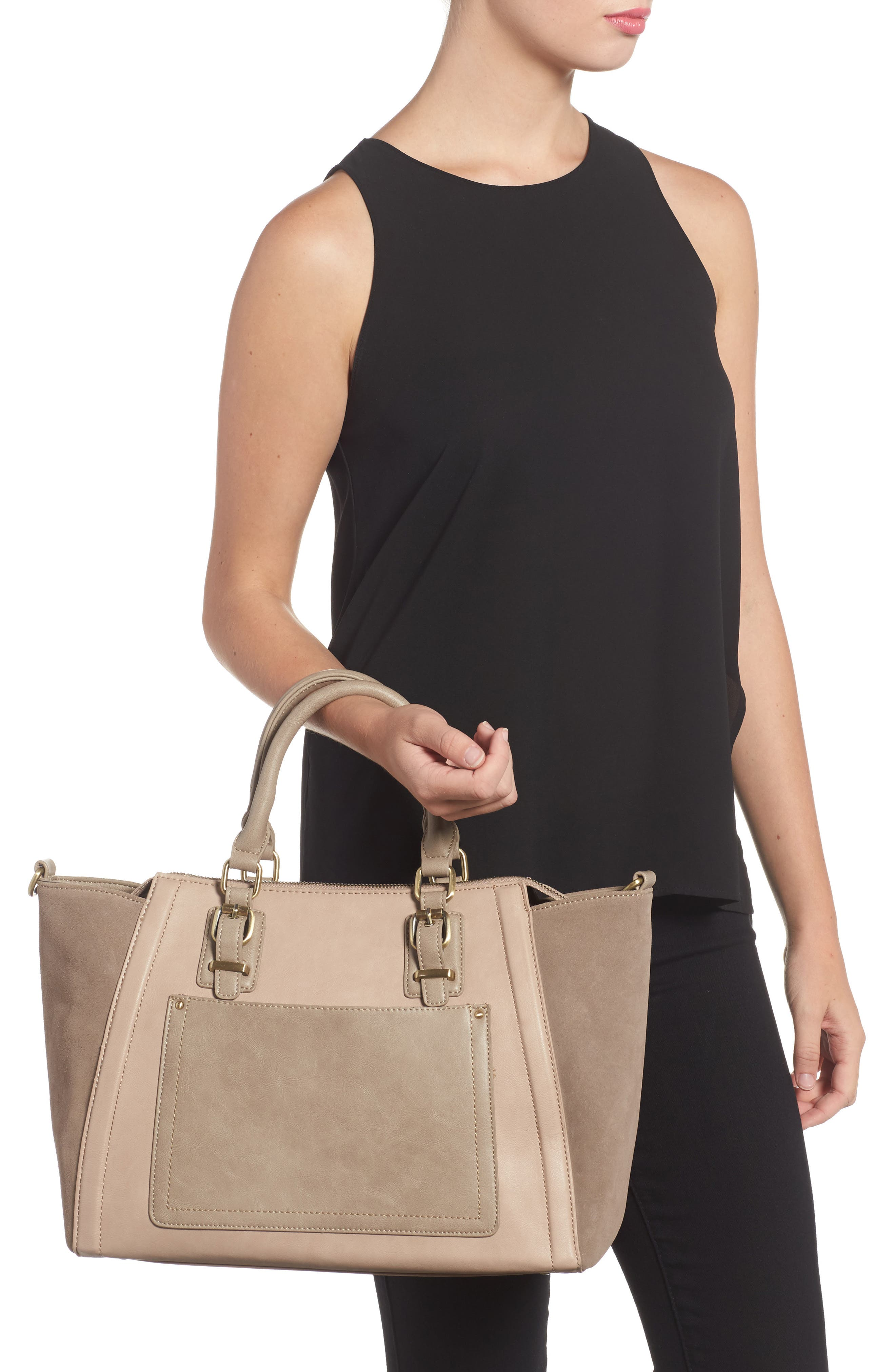 'Jensen' Mixed Media Tote,                             Alternate thumbnail 2, color,                             Taupe Combo