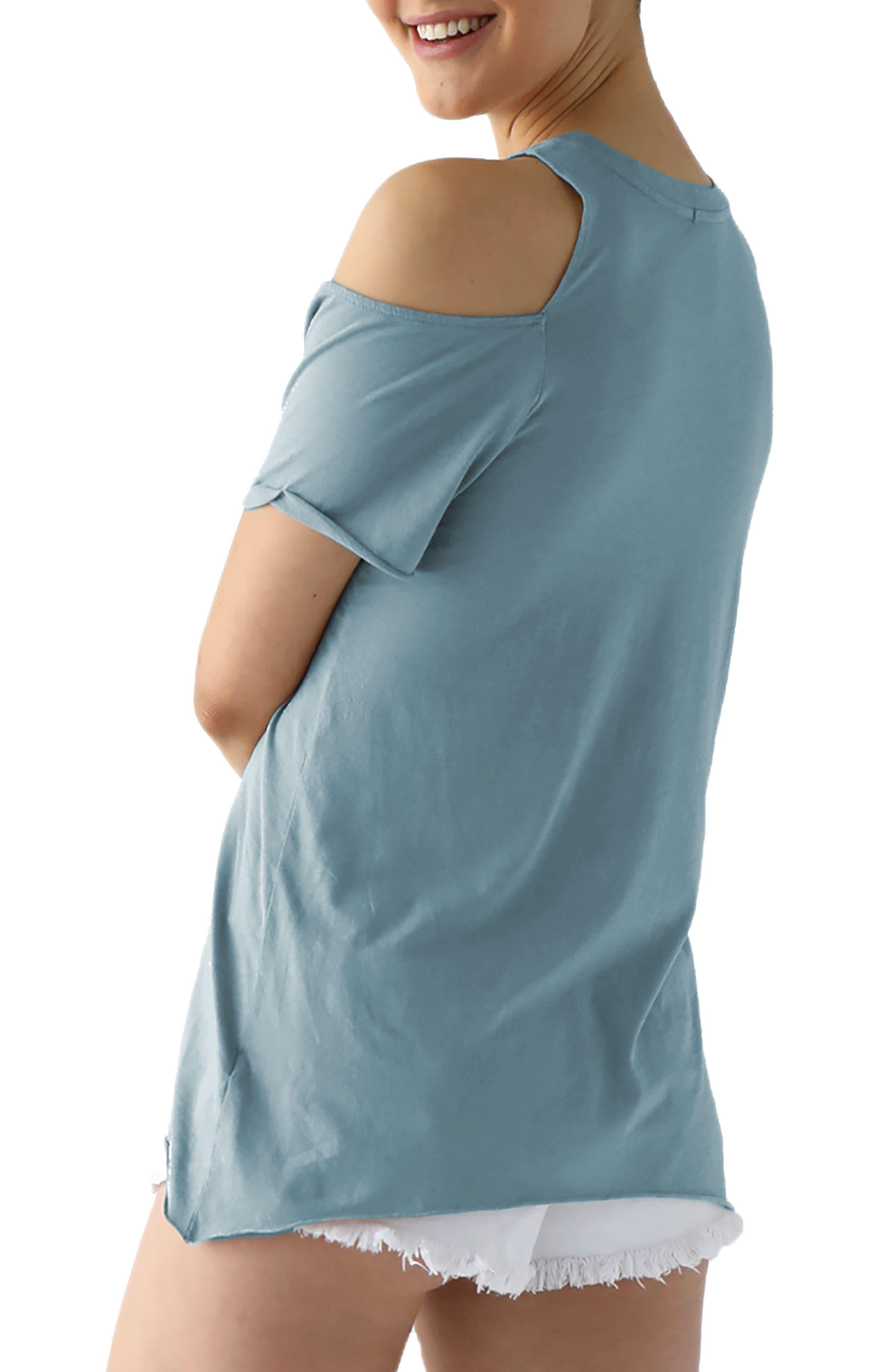 Cold Shoulder Short Sleeve Tee,                             Alternate thumbnail 2, color,                             Goblin Blue