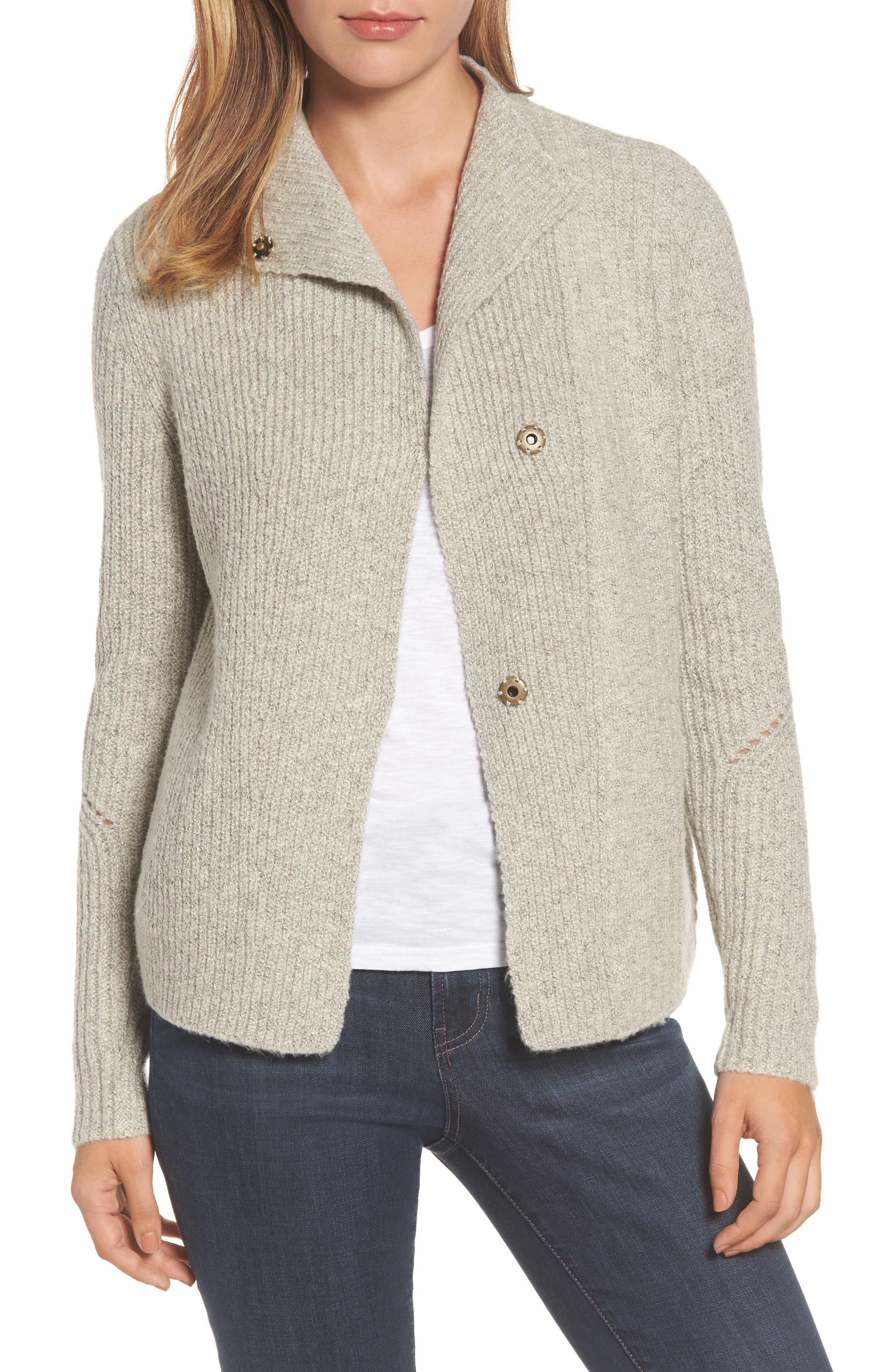 Caslon® Mixed Stitch Cardigan
