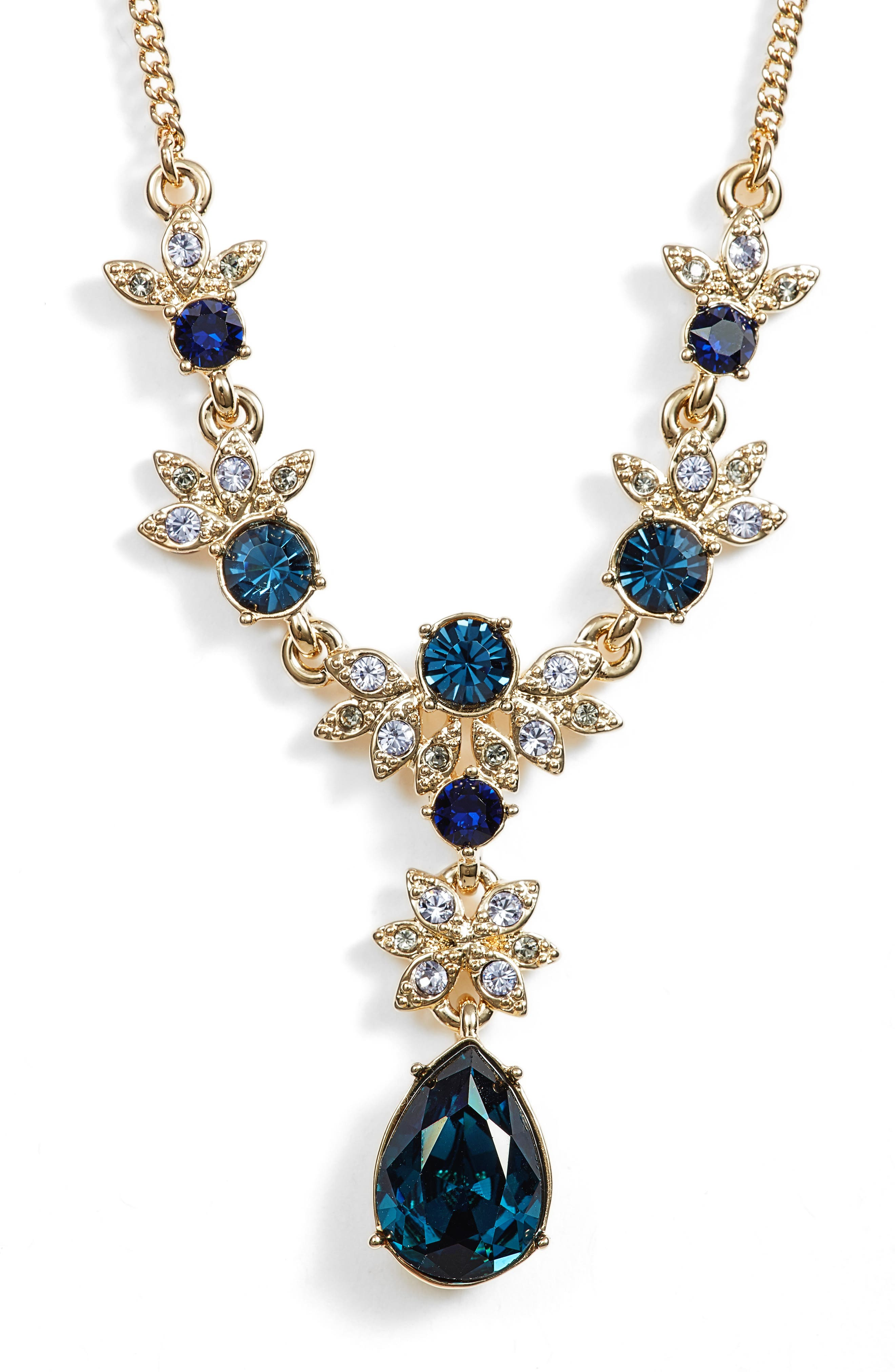 Crystal Y-Necklace,                         Main,                         color, Blue Multi/ Gold